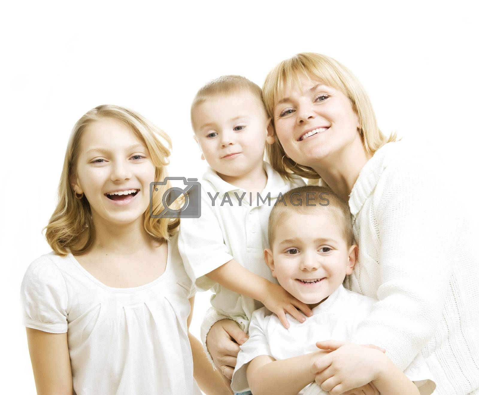 Mother With Kids. Happy Smiling Family Over White by SubbotinaA