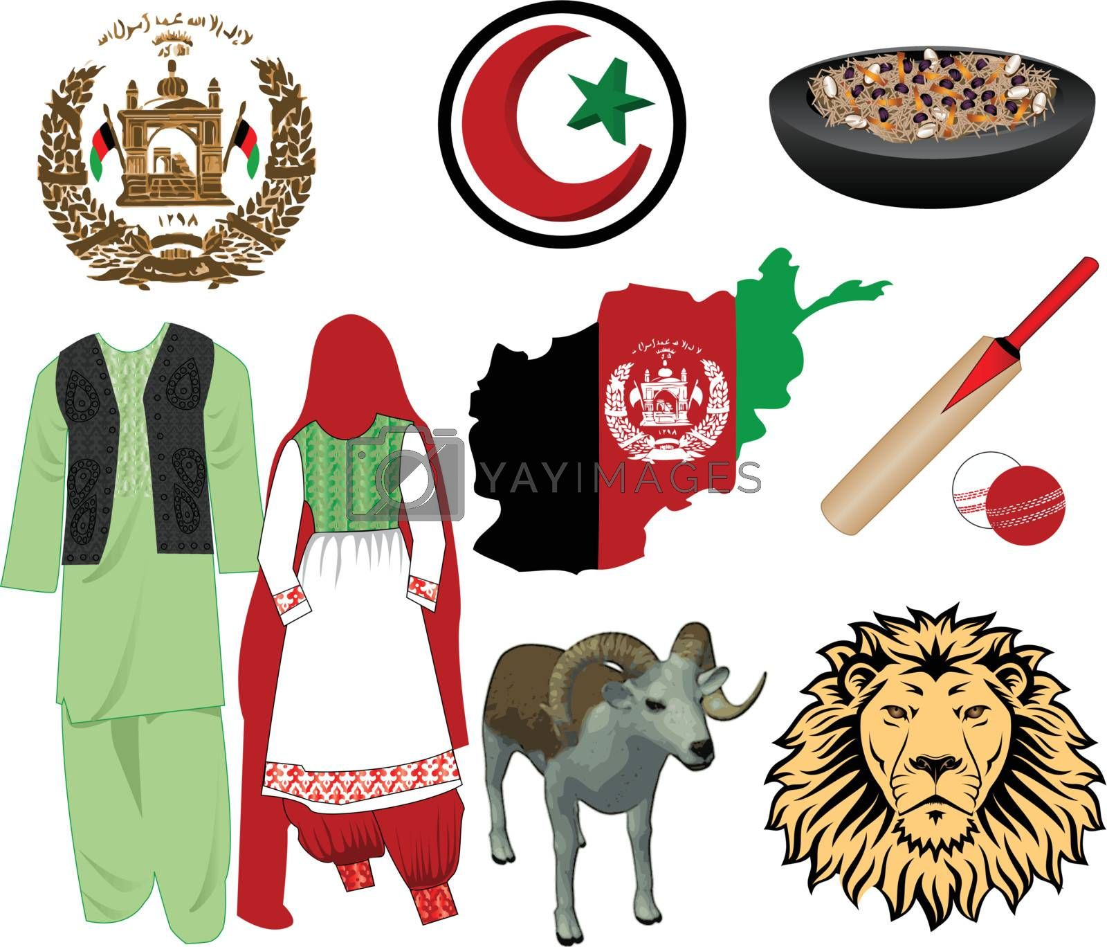 Vector Illustration for Afghanistan. Nine different icons.