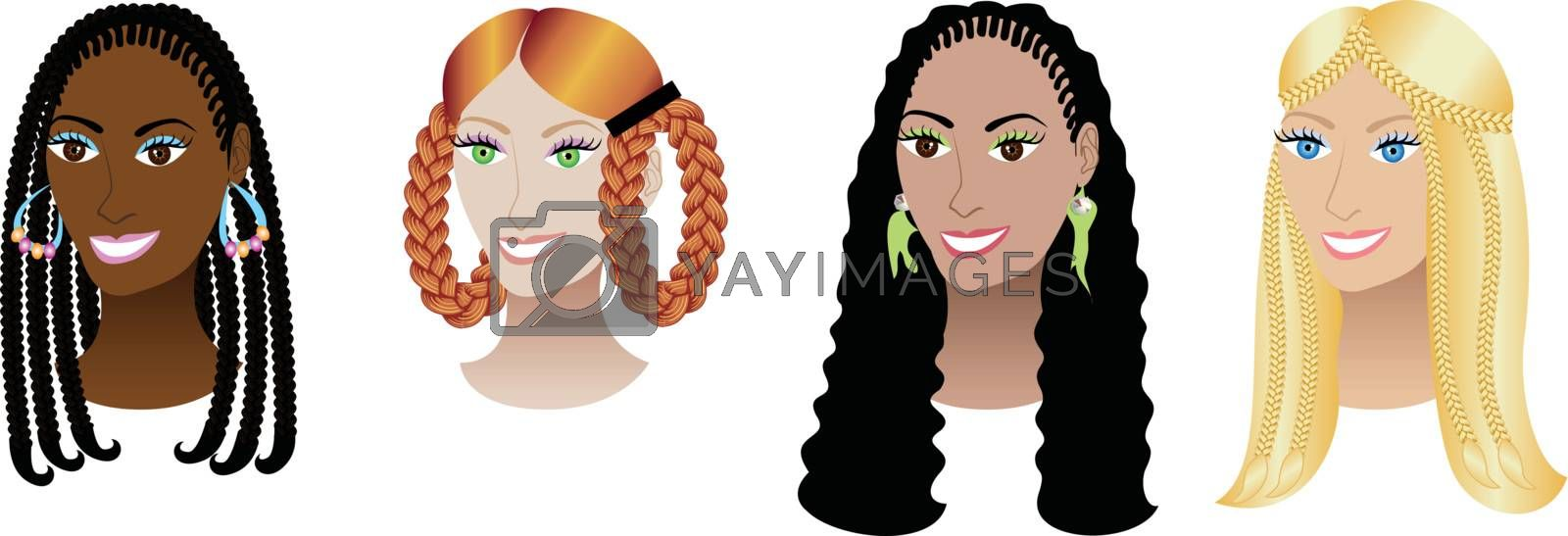 Vector Illustration set of four women with braids, plaits or cornrows.