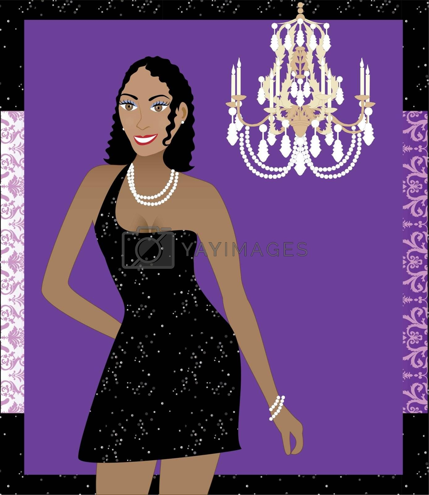 Vector Illustration of a woman in black dress. Can be used for a party invitation or more.
