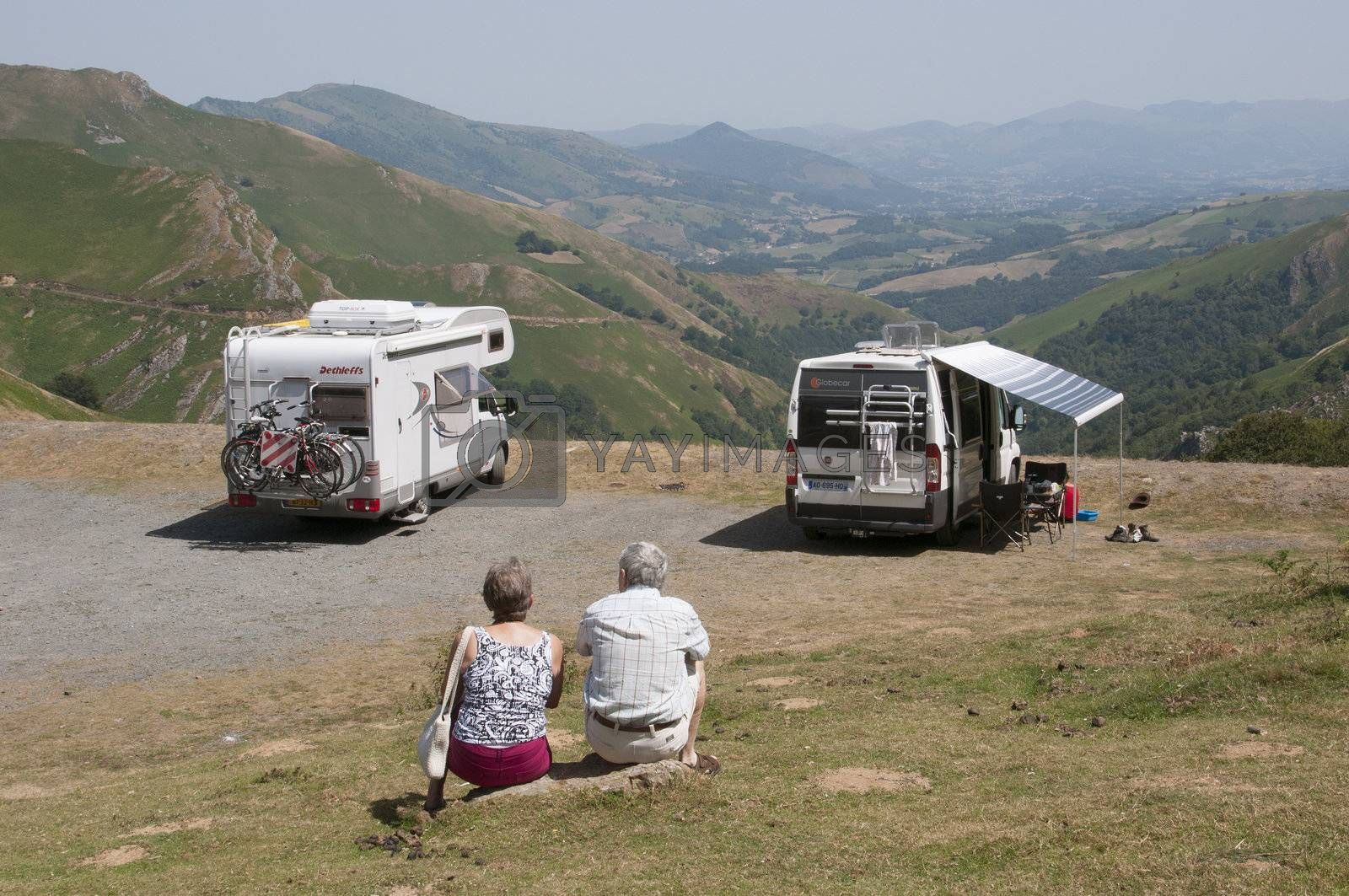 Motorhomes in the Pyrenees National Park southwest France by Peter t