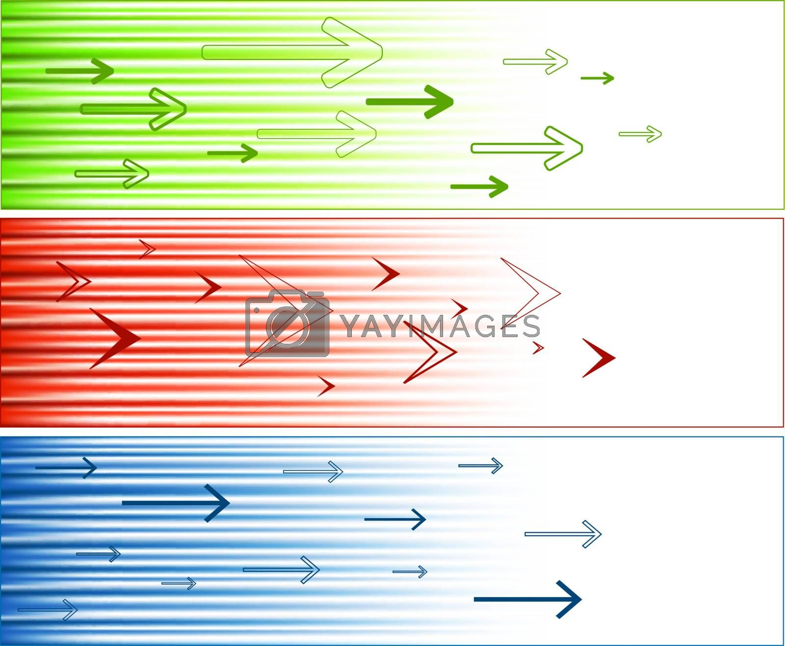 multicolored banners set with arrows