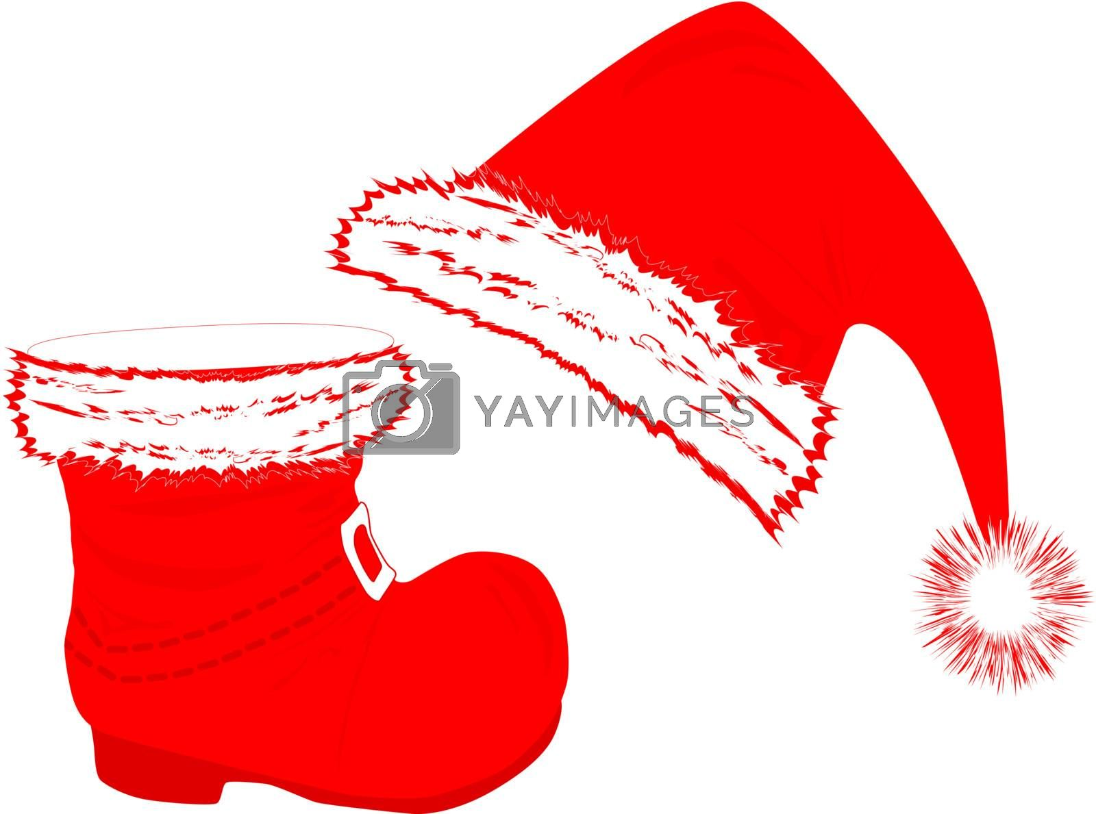 Santa`s red hat and boot