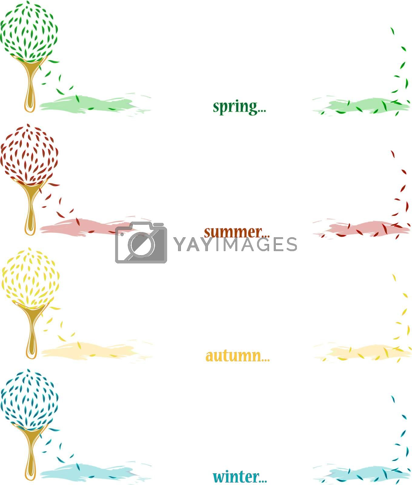 Four seasonal banners with tree and copyspace for your text