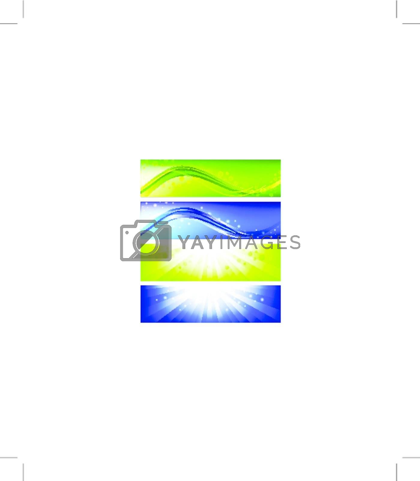 Four bright web banner set in blue and green