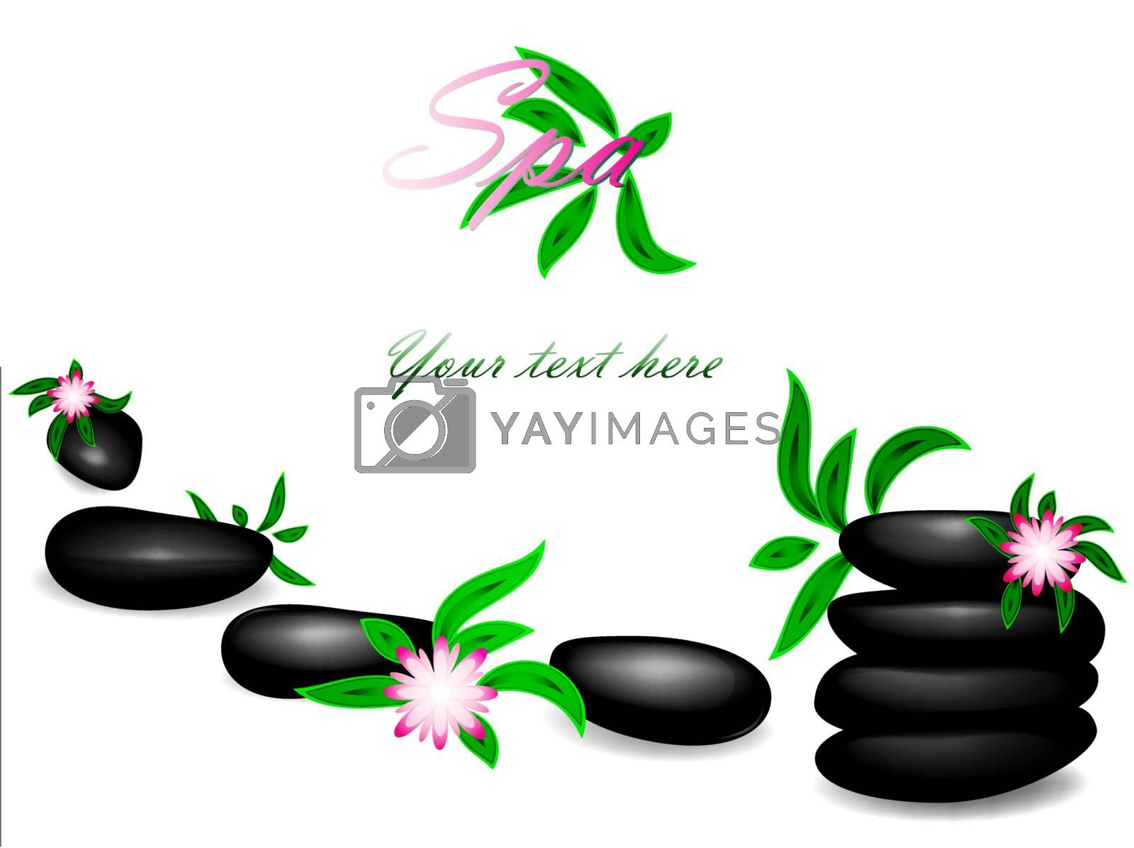 Spa theme with zen stones, flowers and copyspace