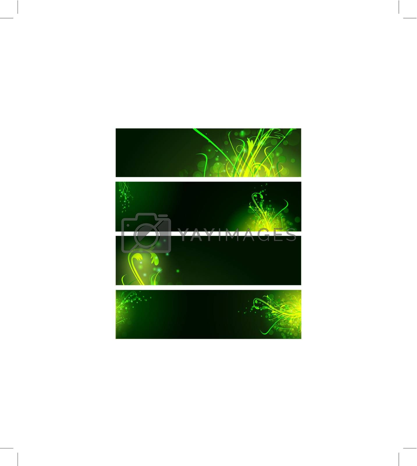 floral neon web baners set in green
