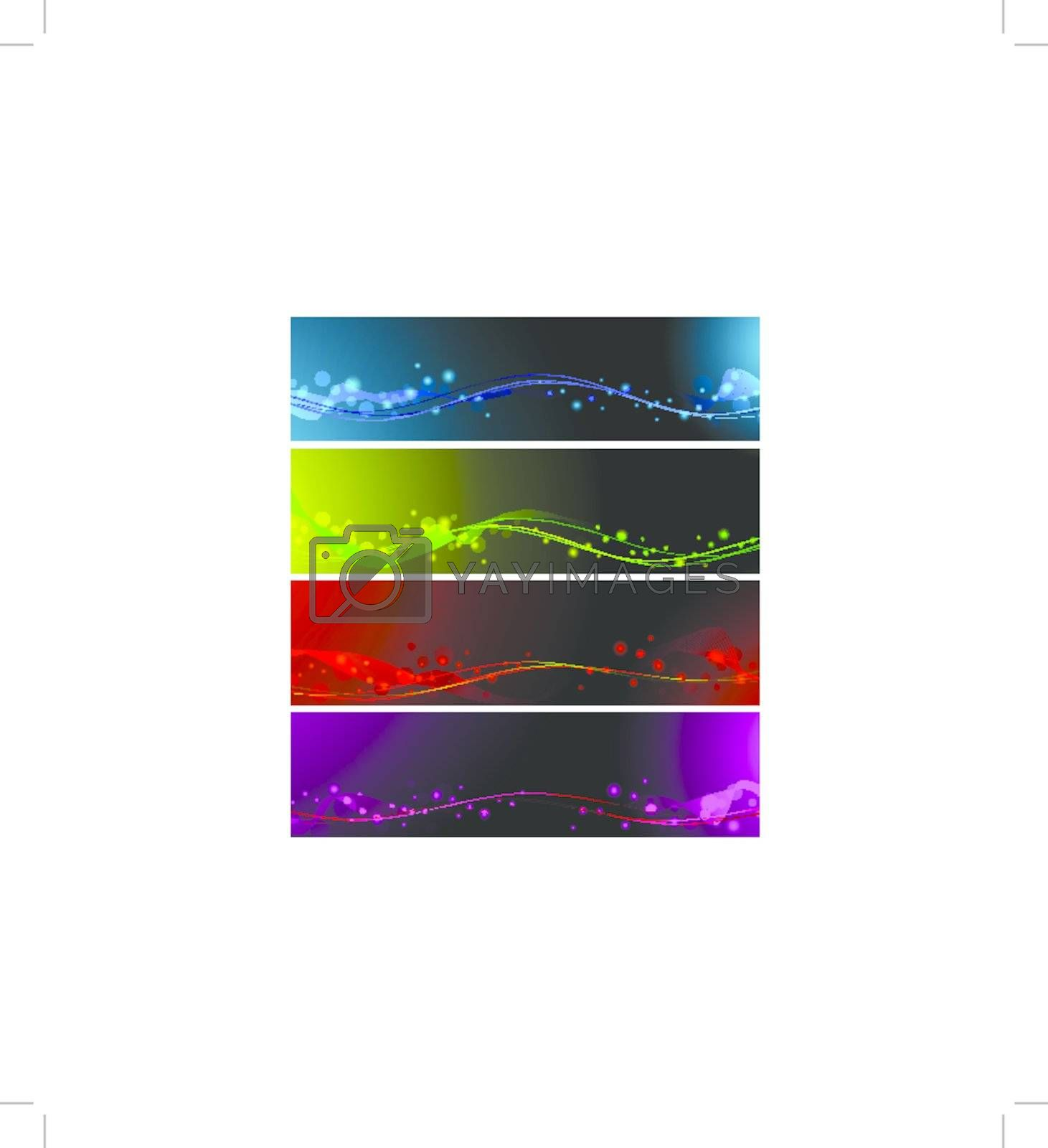 magic abstract lines neon multicolored web banner set