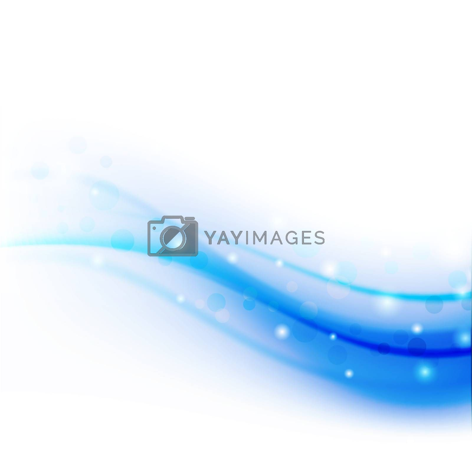 blue abstract wave with bokeh