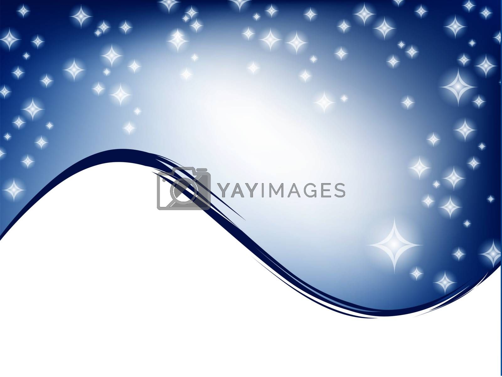 wavy template with stars in blue sky and copyspace