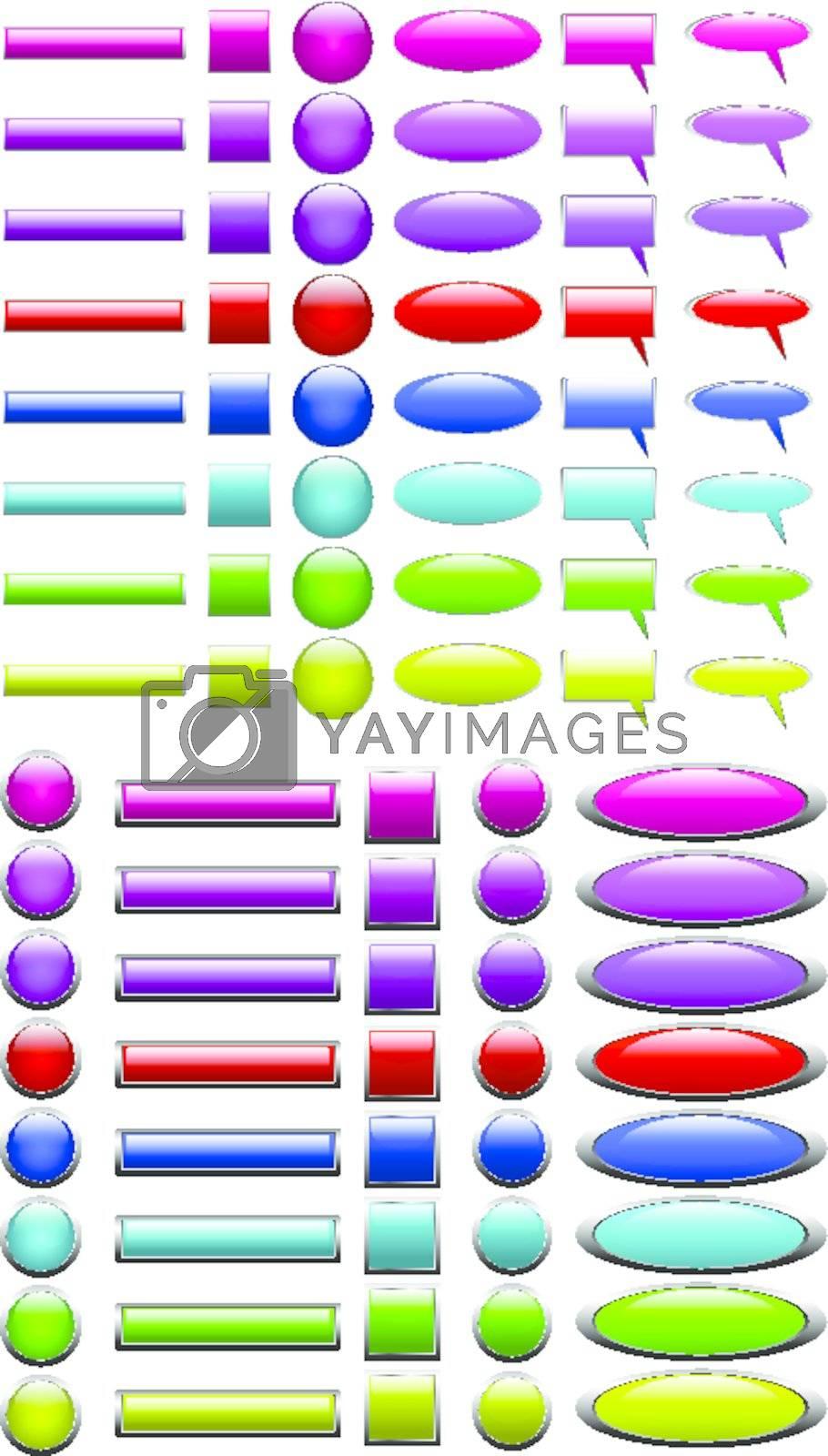 multicolored web button set
