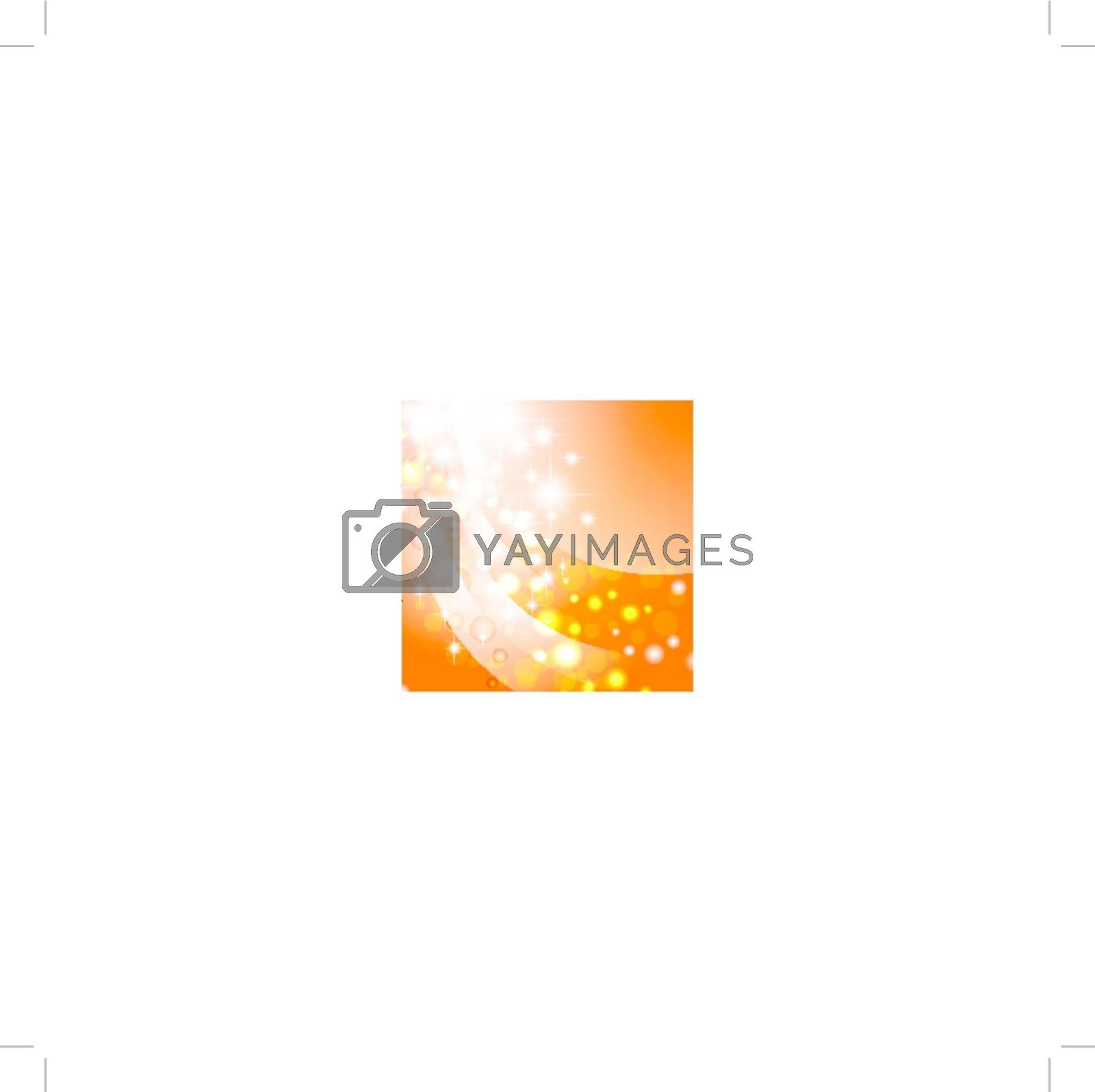 bright abstract wavy theme with stars over orange, copyspace