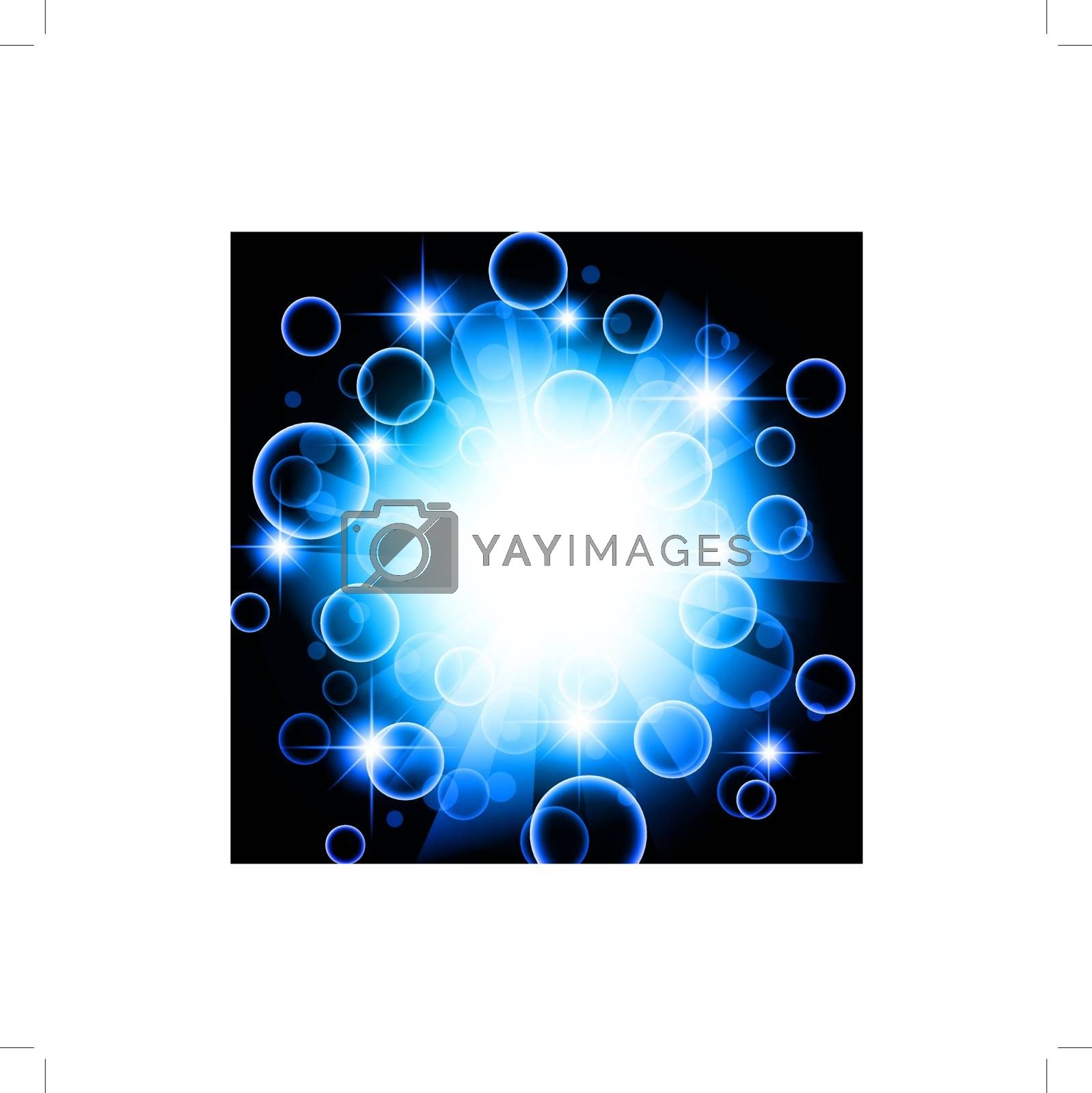 bright abstract explosion with stars over blue