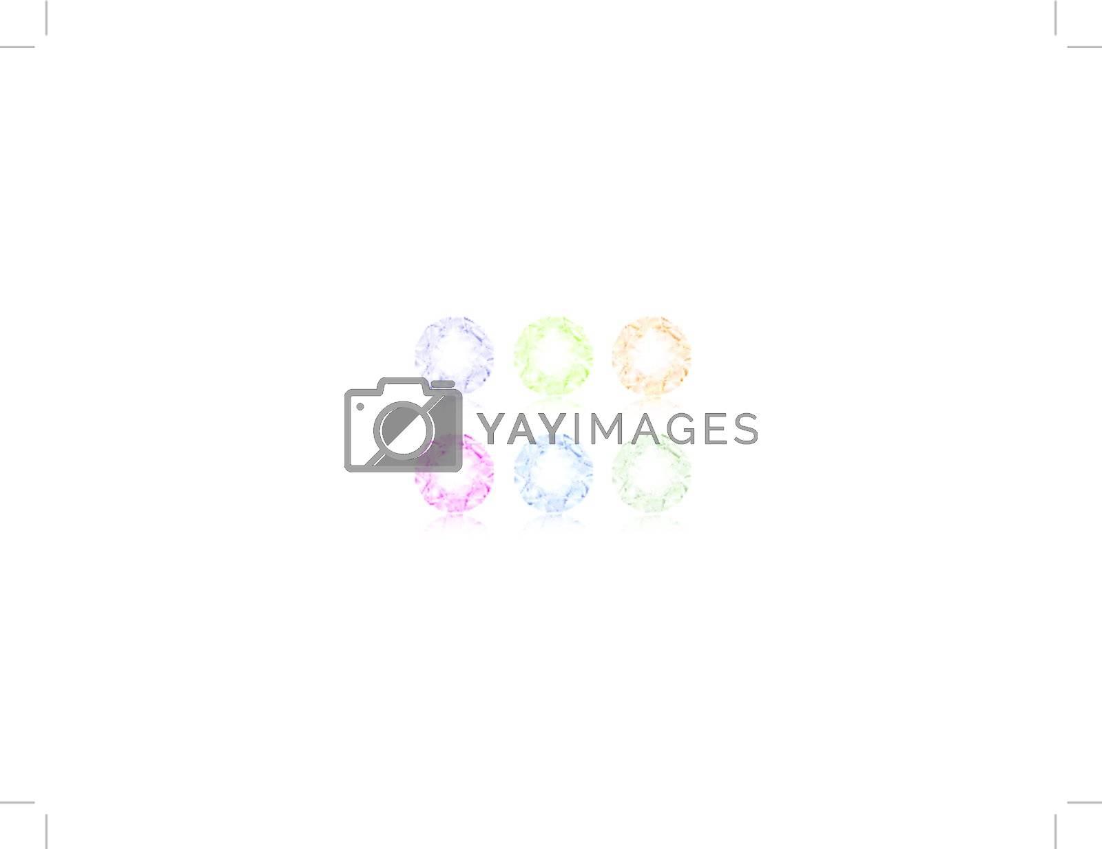 illustration of multicolored diamond set