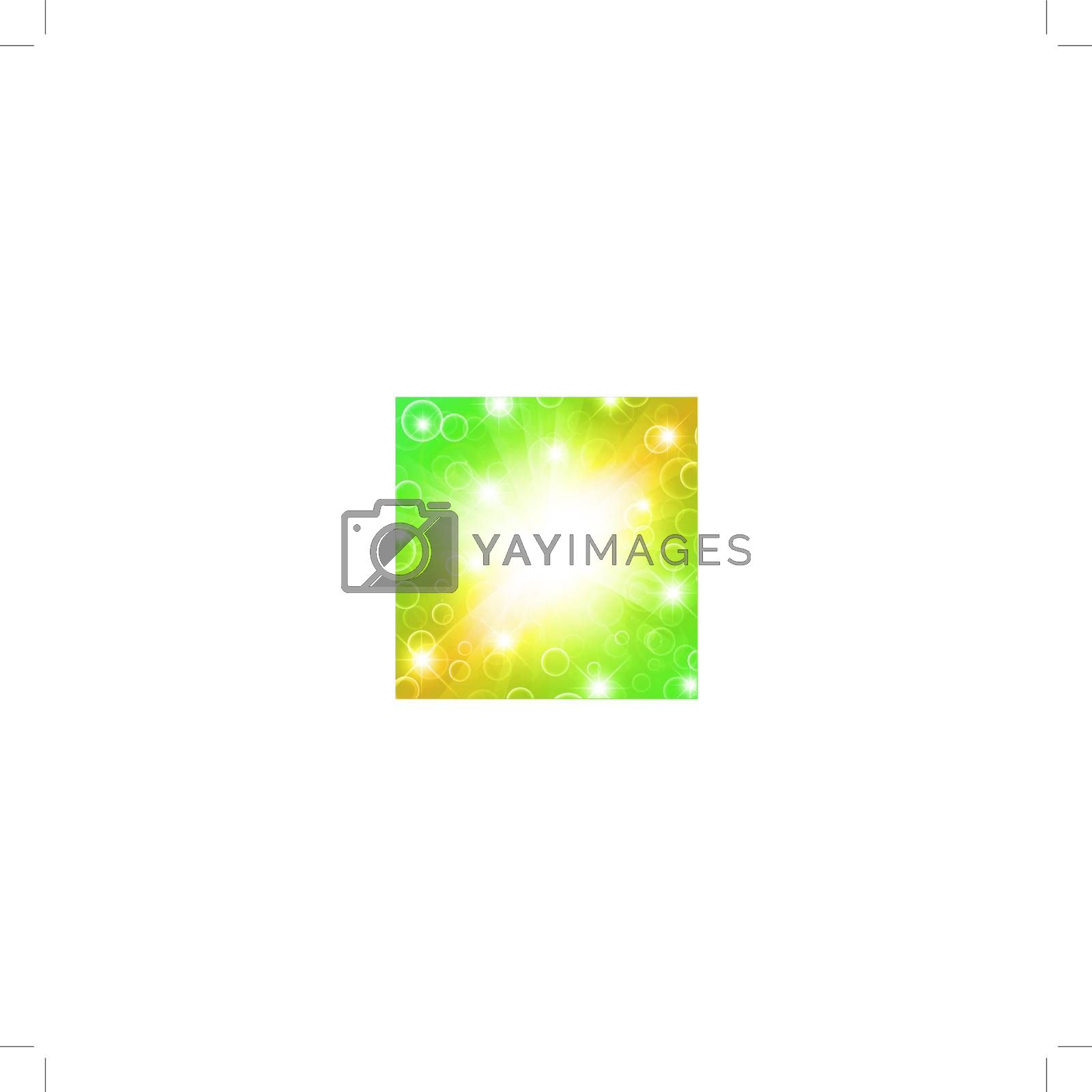 bright abstract explosion with stars over yellow and green, copyspace