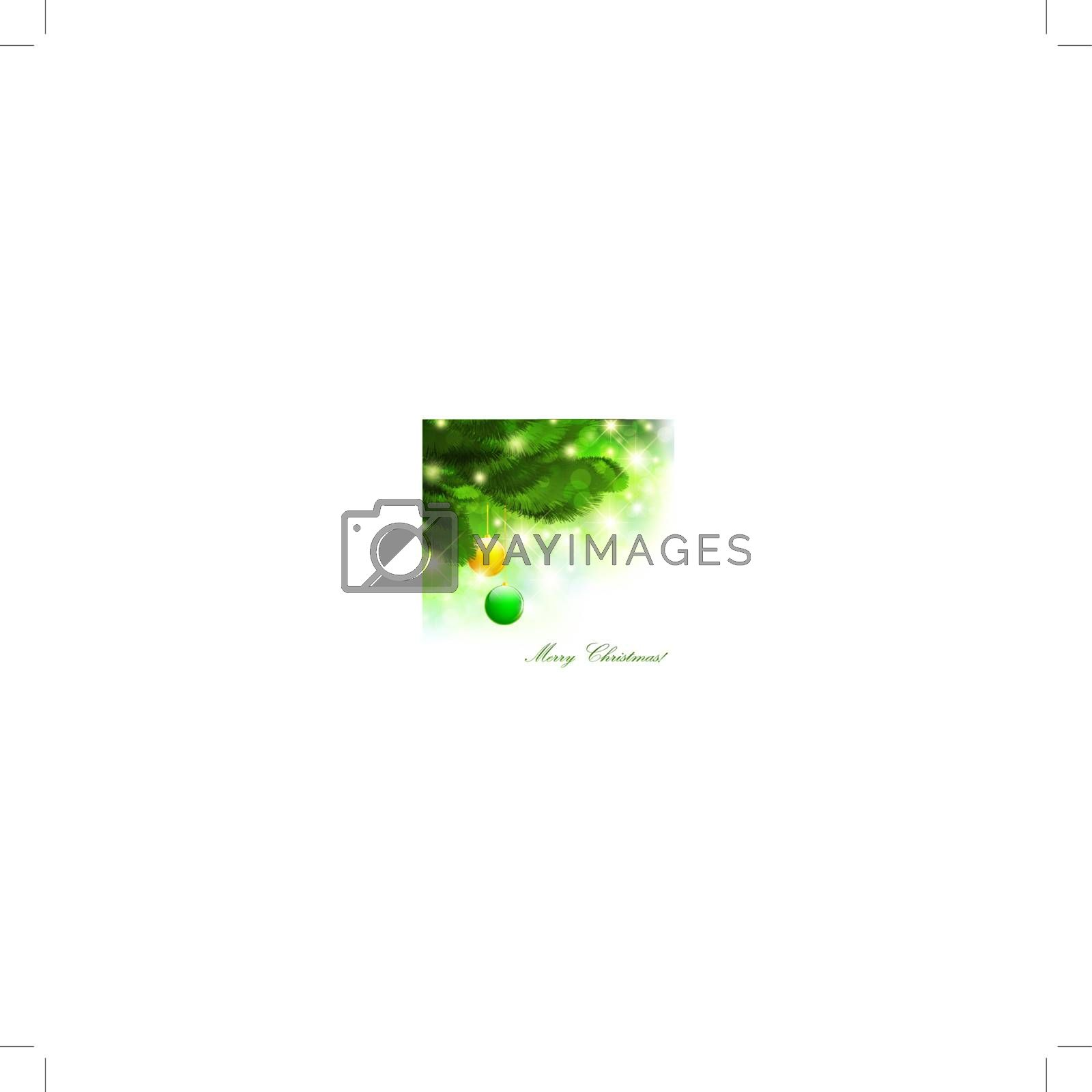 Christmas theme with pine tree branch over bright background, copyspace