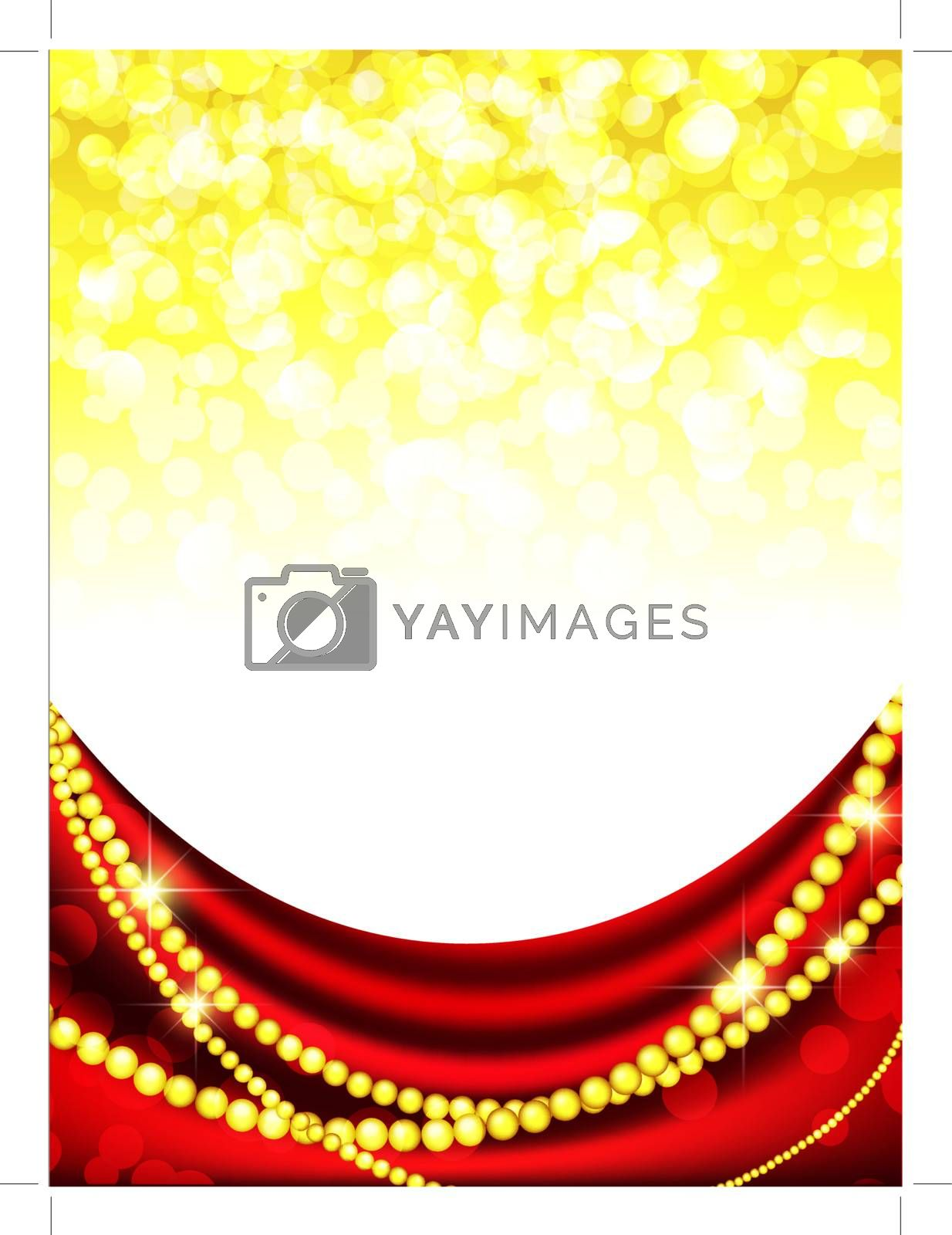 holiday frame with red curtain and copyspace