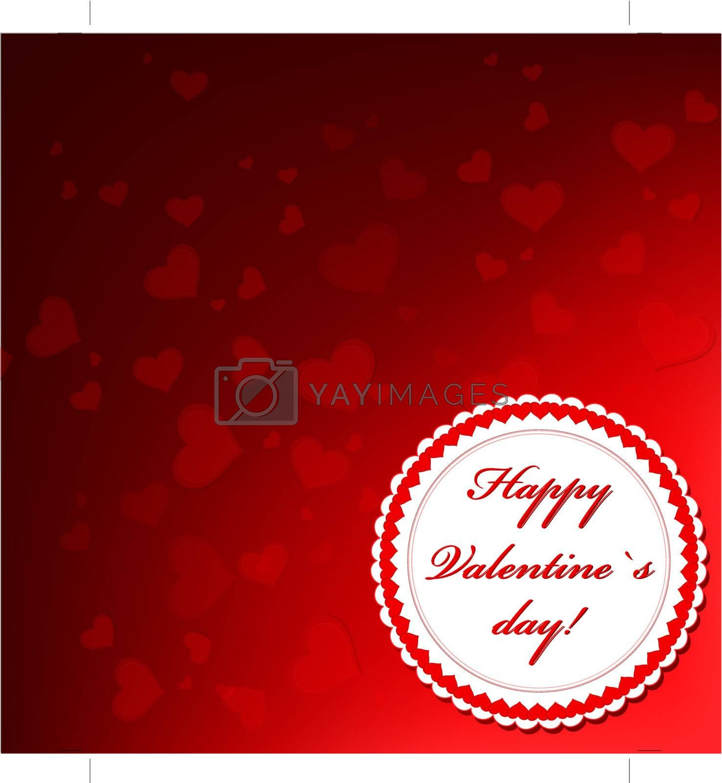 Valentine`s day frame over red background with hearts