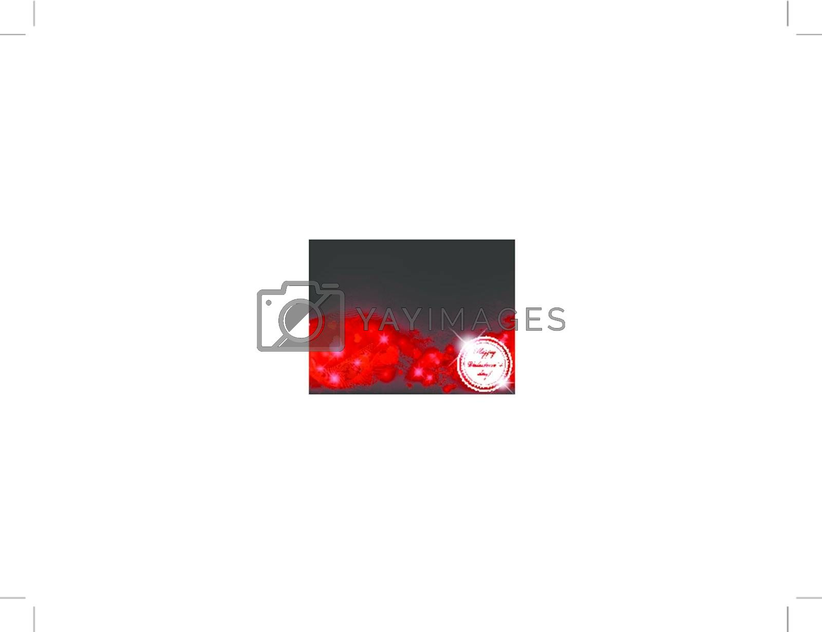 Valentine`s day label over dark background with hearts and stars, copyspace