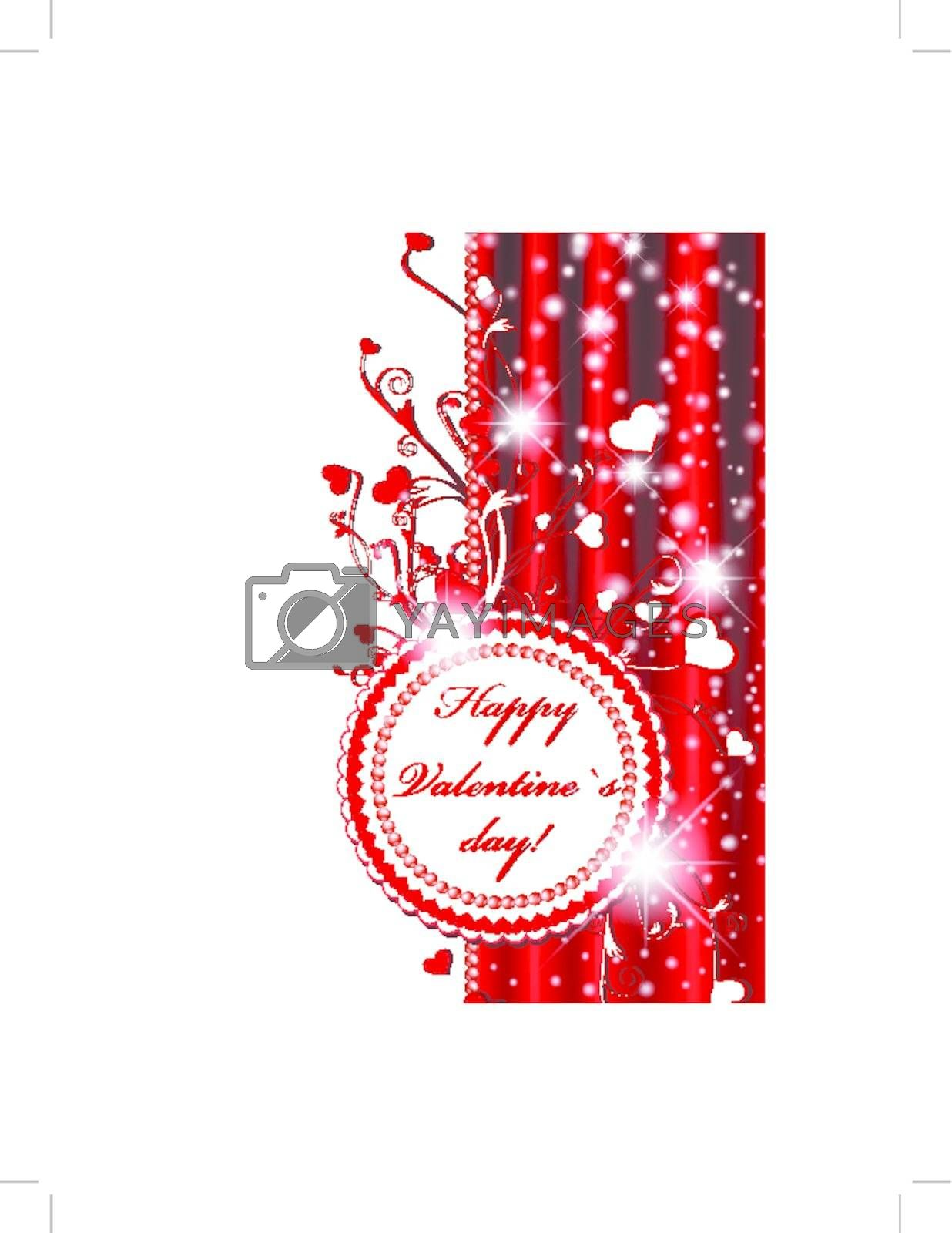 Valentine`s day label over red drapery with hearts and stars, copyspace