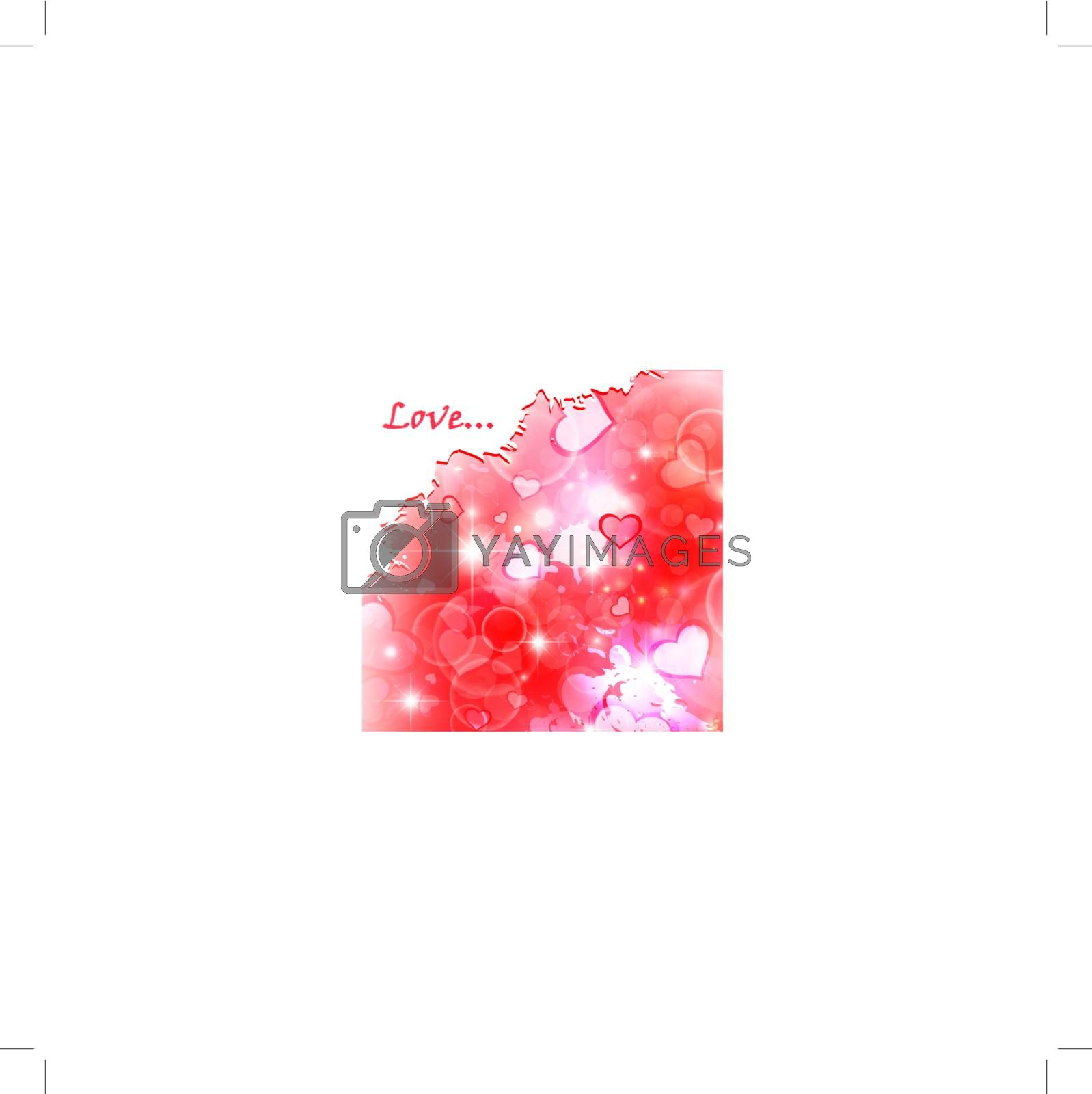 bright Valentine day watercolor background with hearts