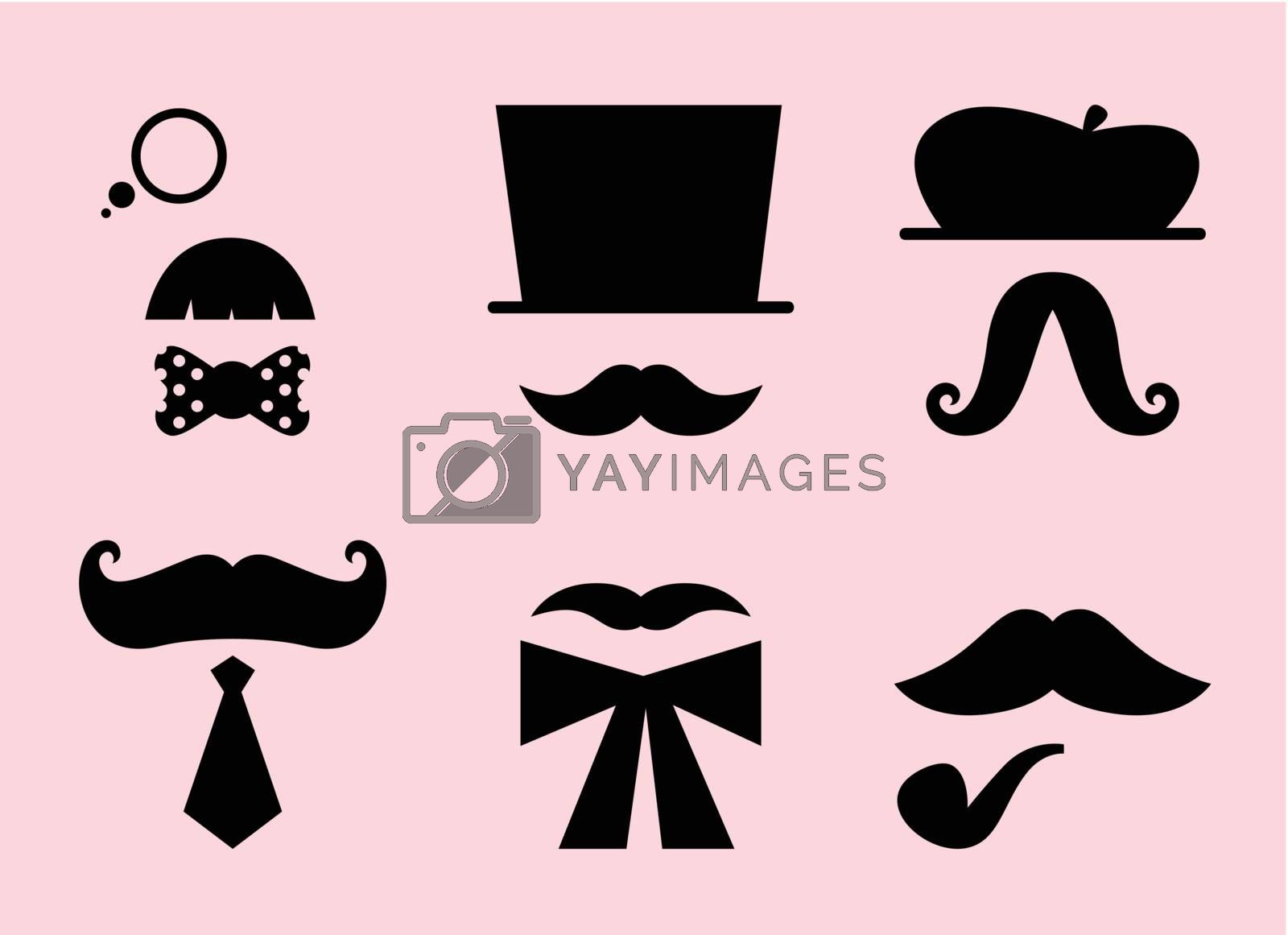 Mustaches and hats set. Vector Illustration