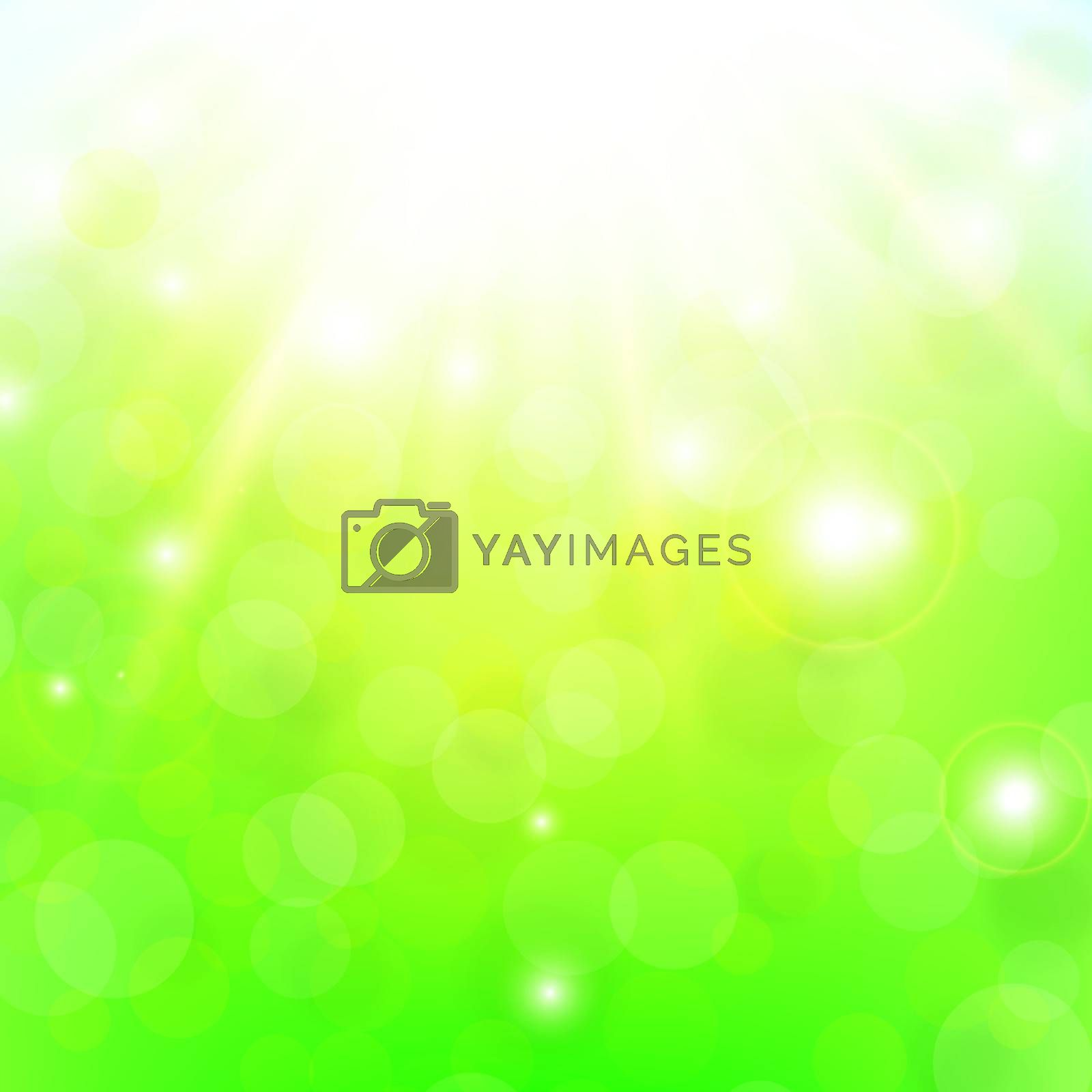 green spring or summer abstract background with shine and bokeh