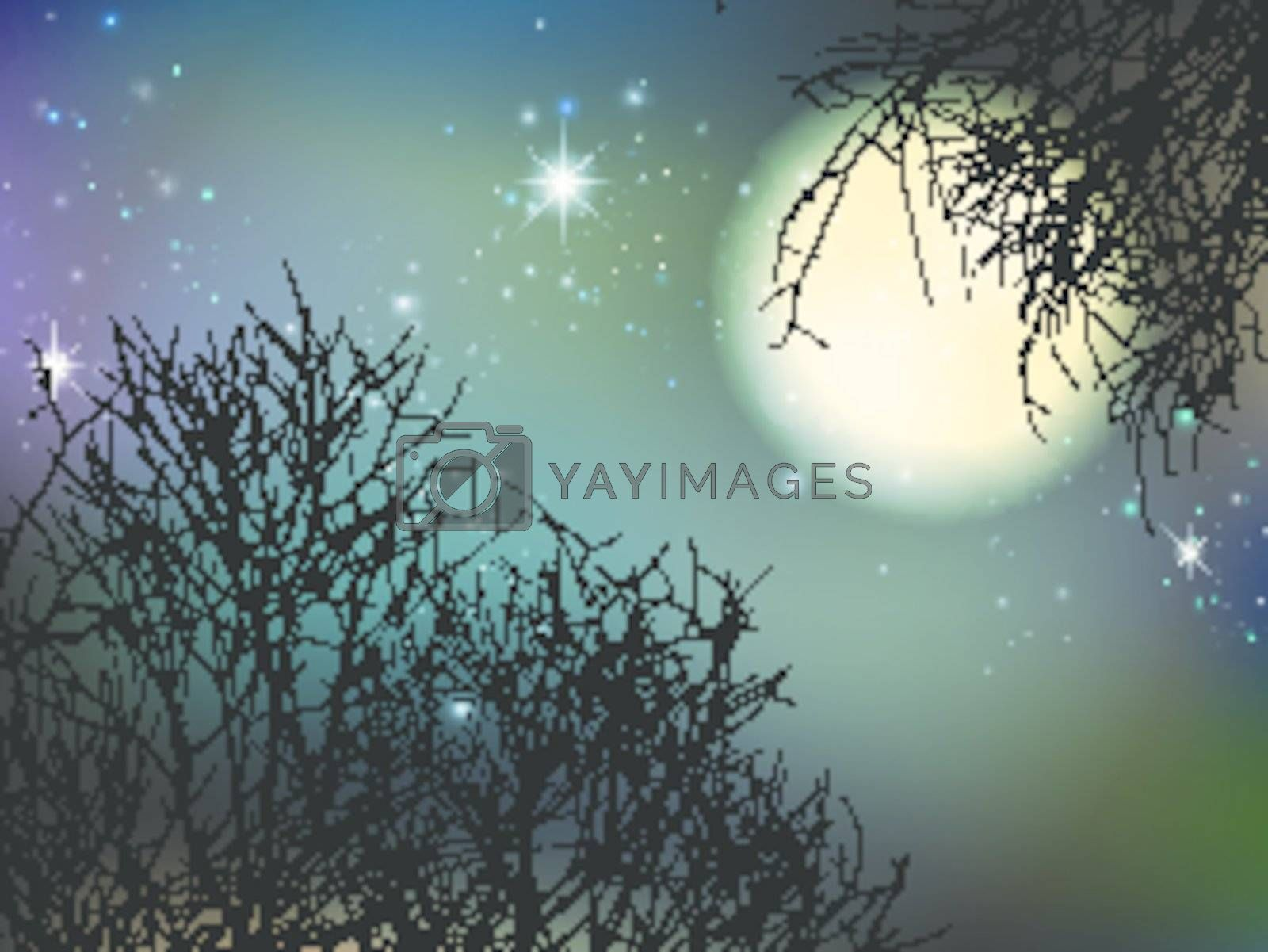 Night With Big Moon and Trees