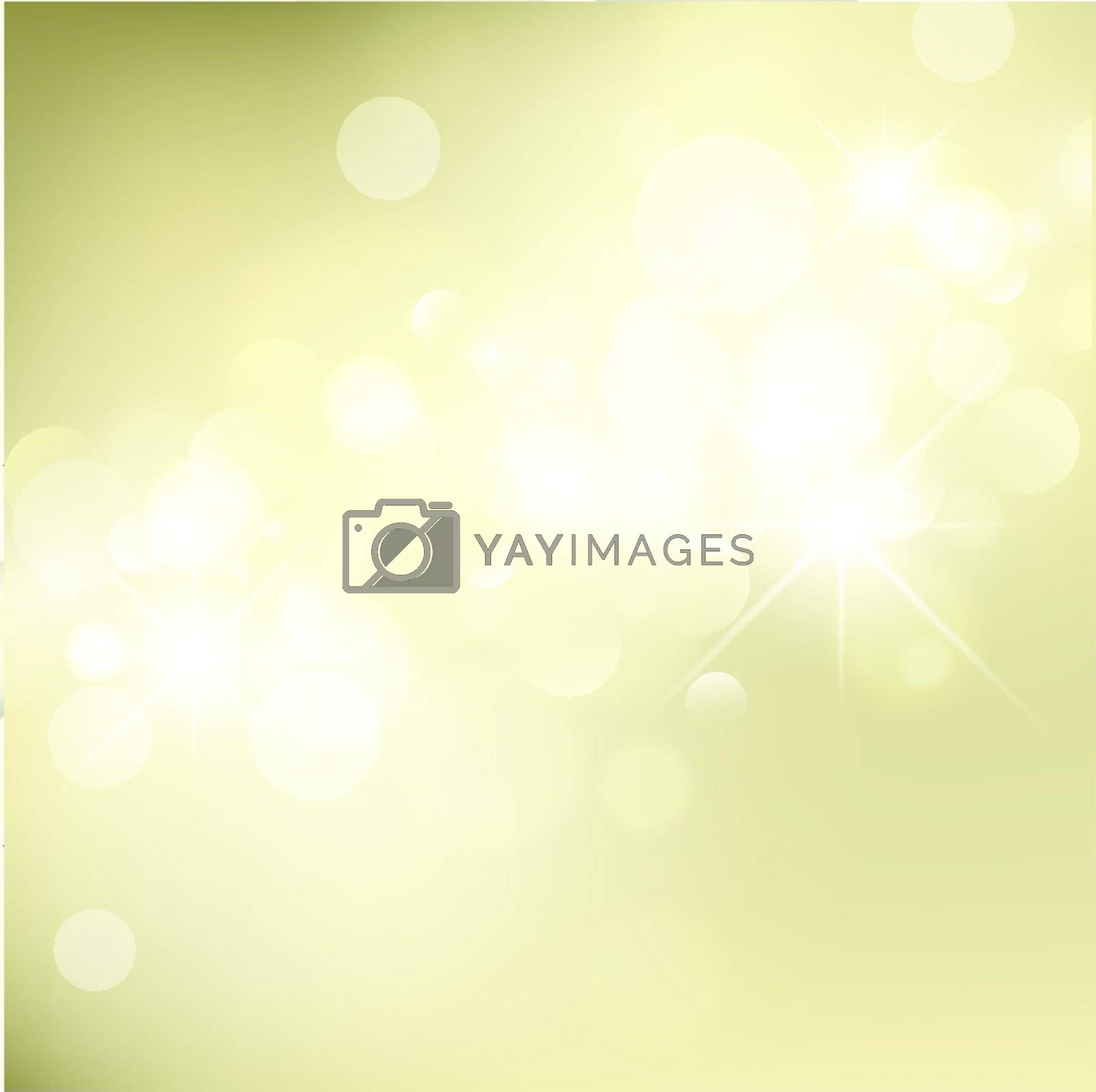 Abstract Golden Holiday Background With Lights and Stars