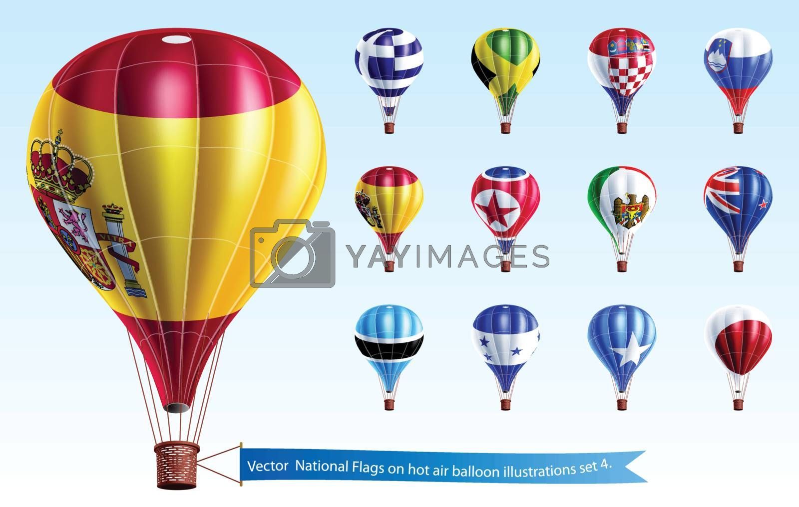 Vector  National Flags on hot air balloon illustrations set 4