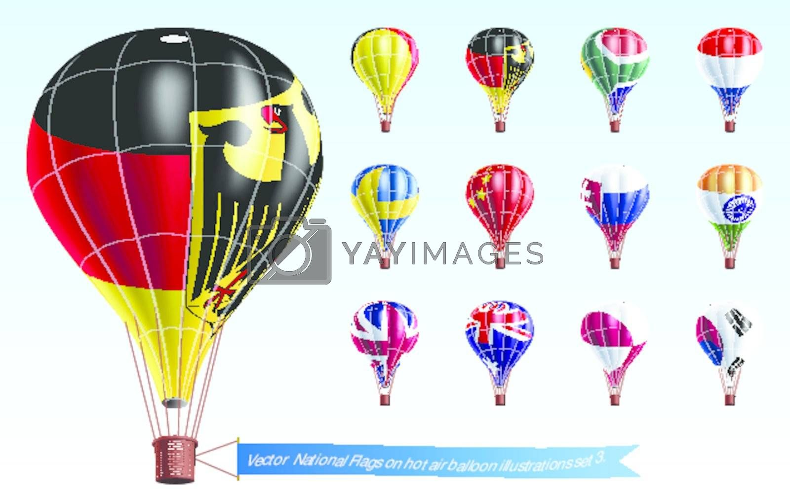 Vector  National Flags on hot air balloon illustrations set 3