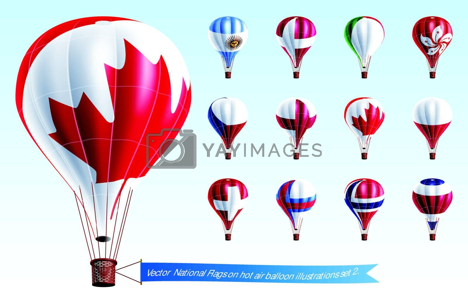 Vector  National Flags on hot air balloon illustrations set 2