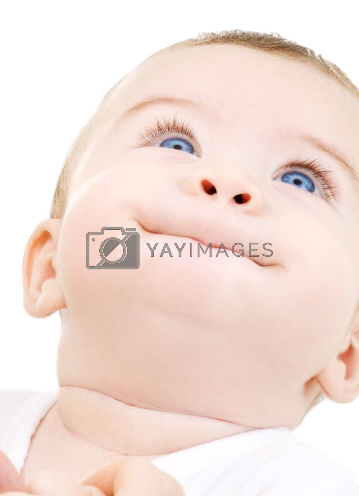 bright picture of adorable baby boy over white