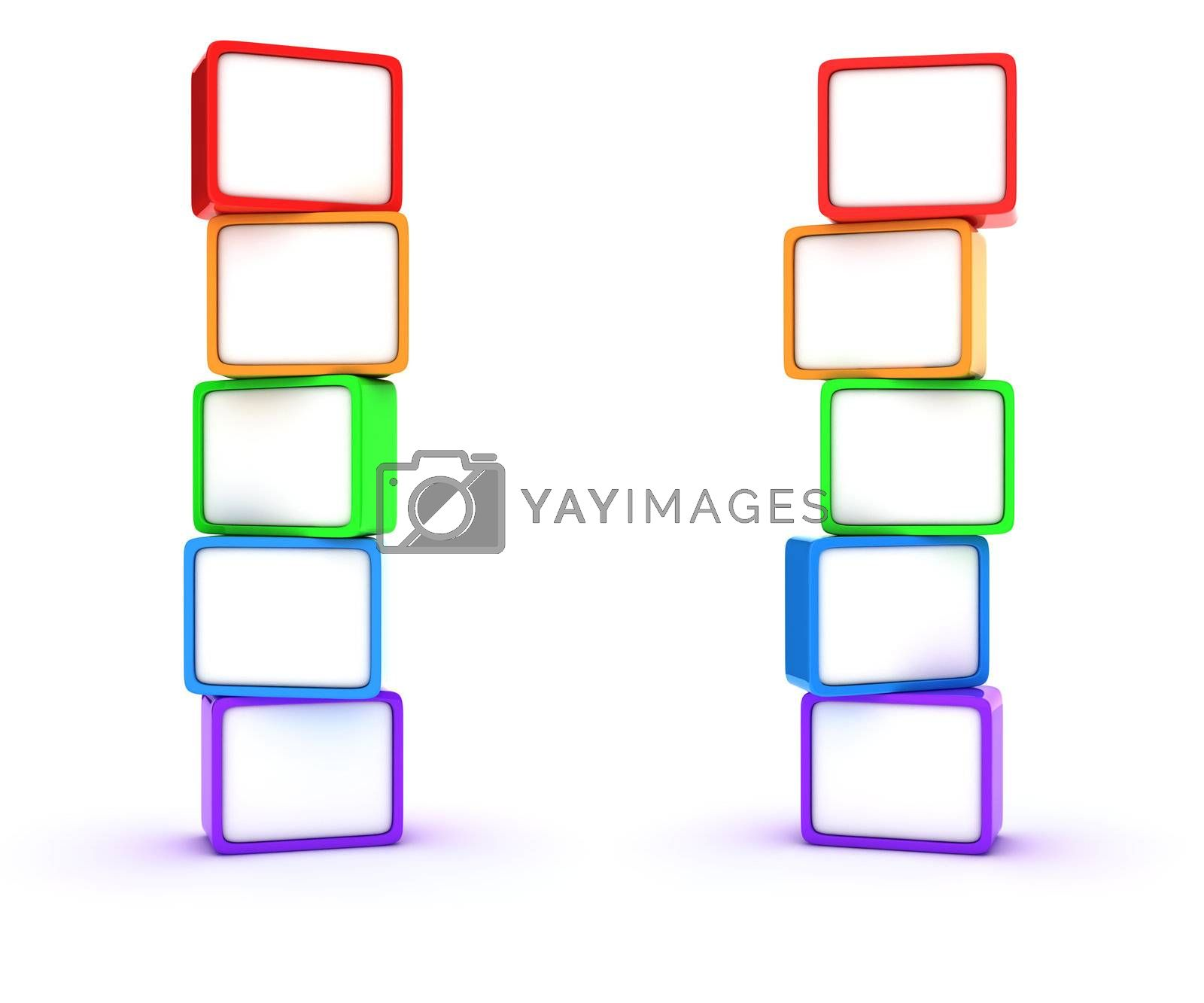 Two columns of multicolored cubes
