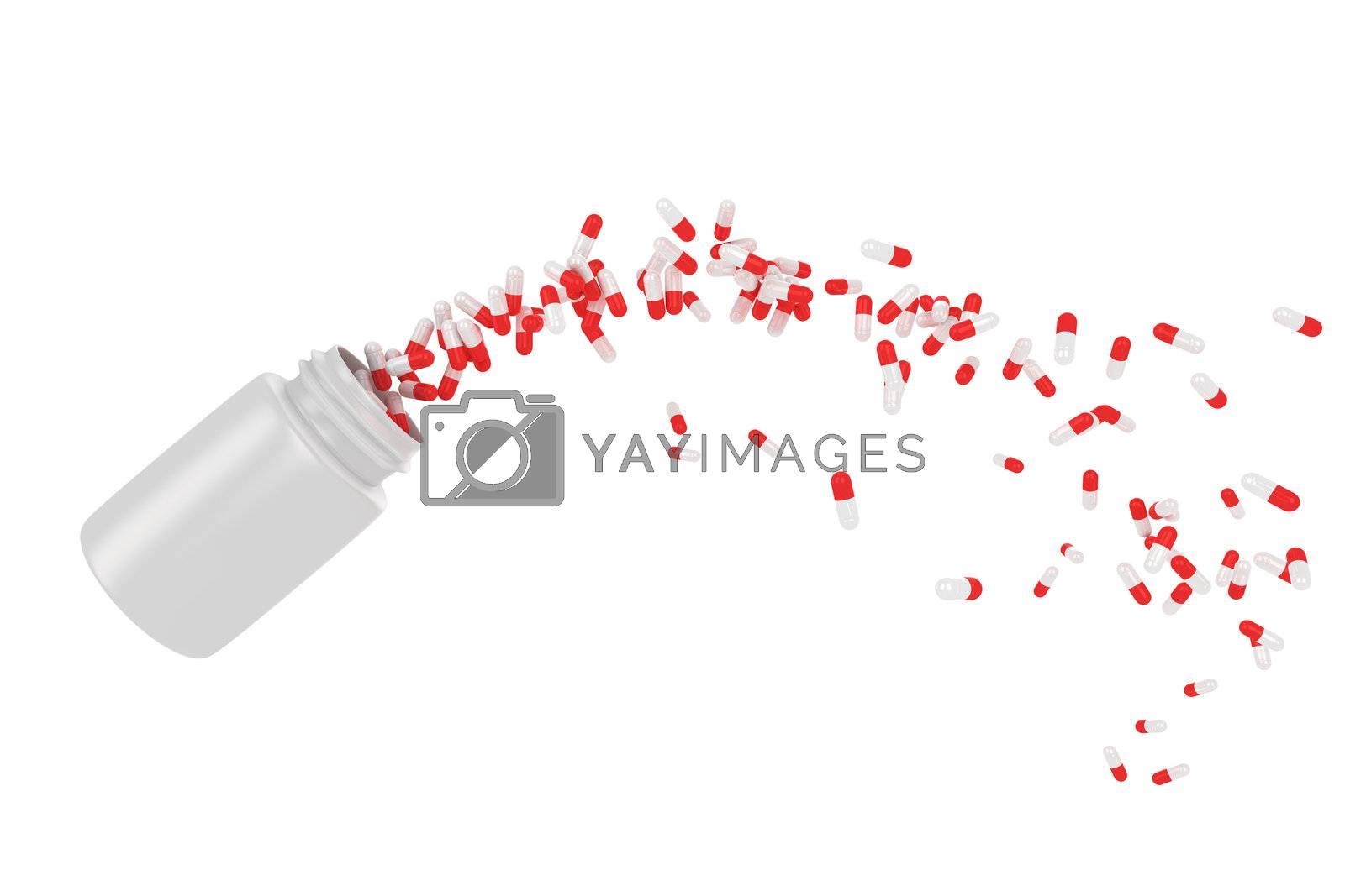 Red pills flying away from open plastic bottle