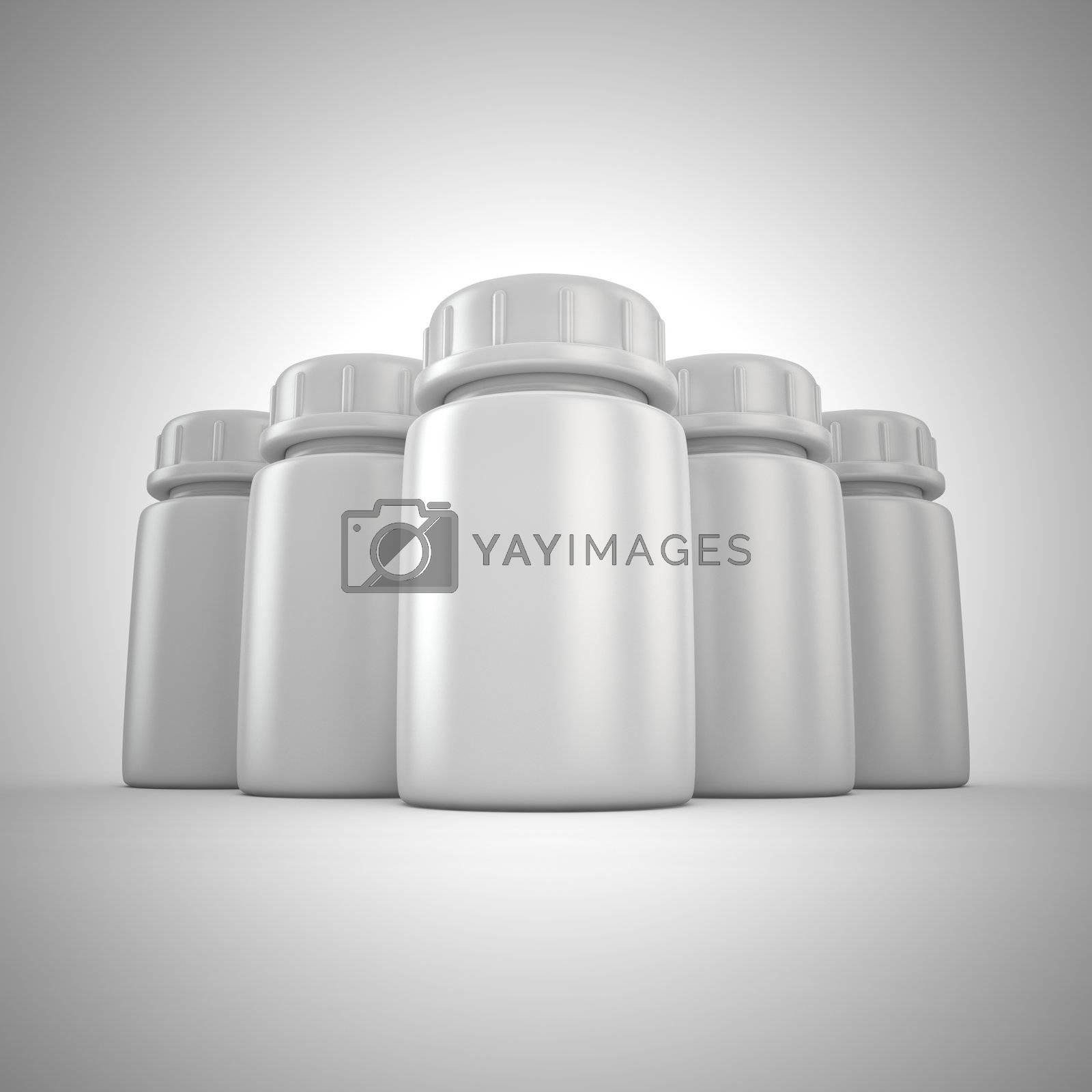 Group of blank pill bottles