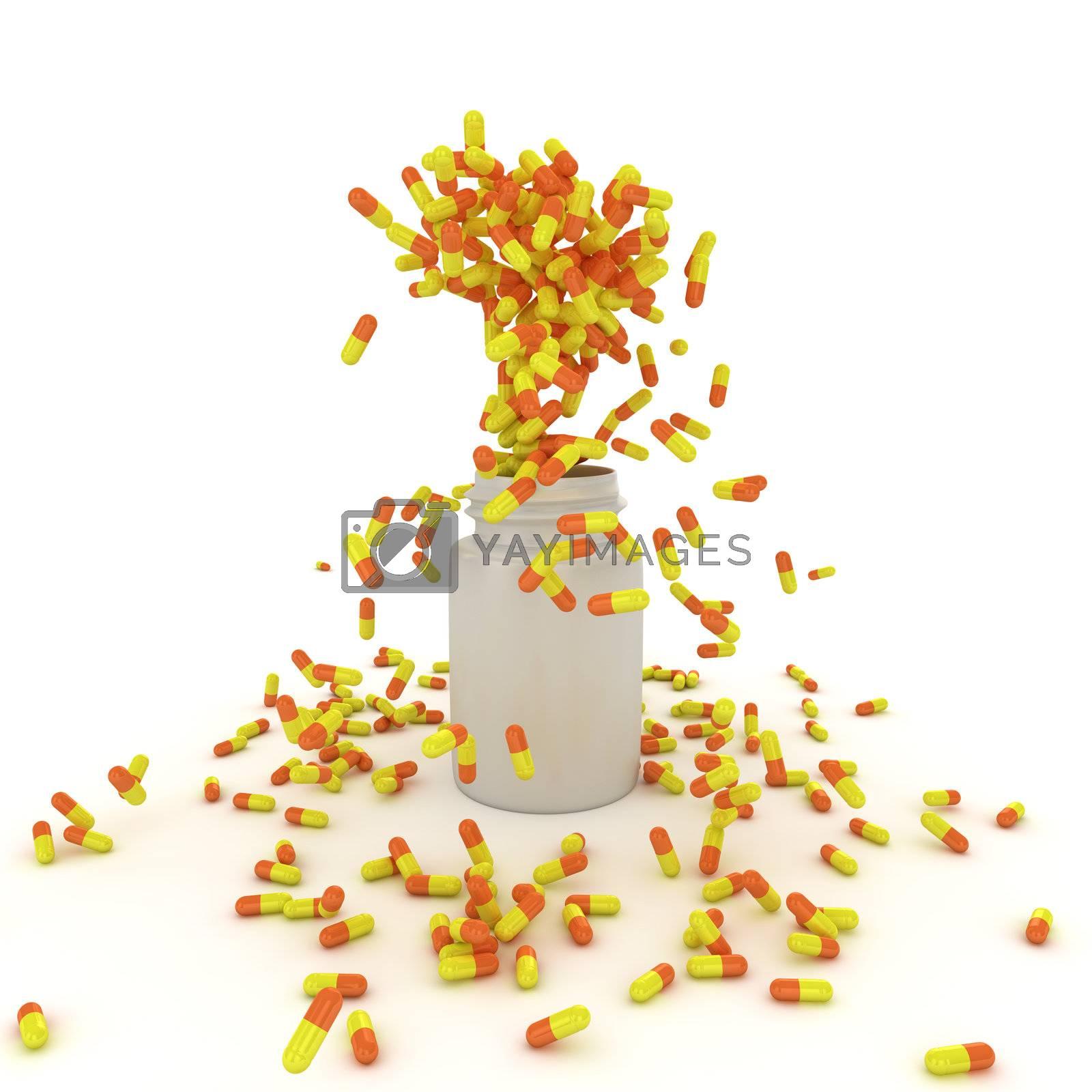 Explosion of yellow pills