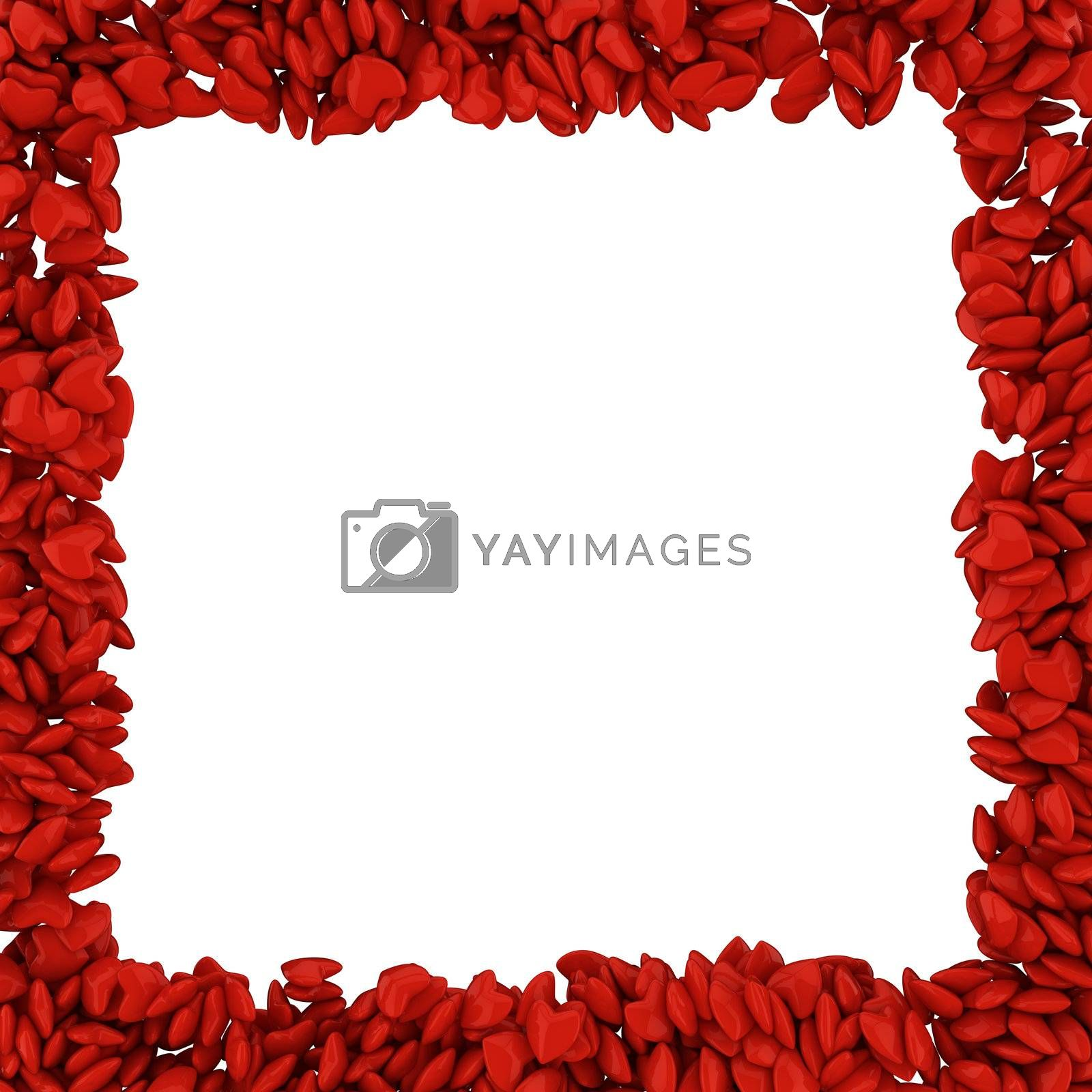 Square frame made of small red hearts, 3d