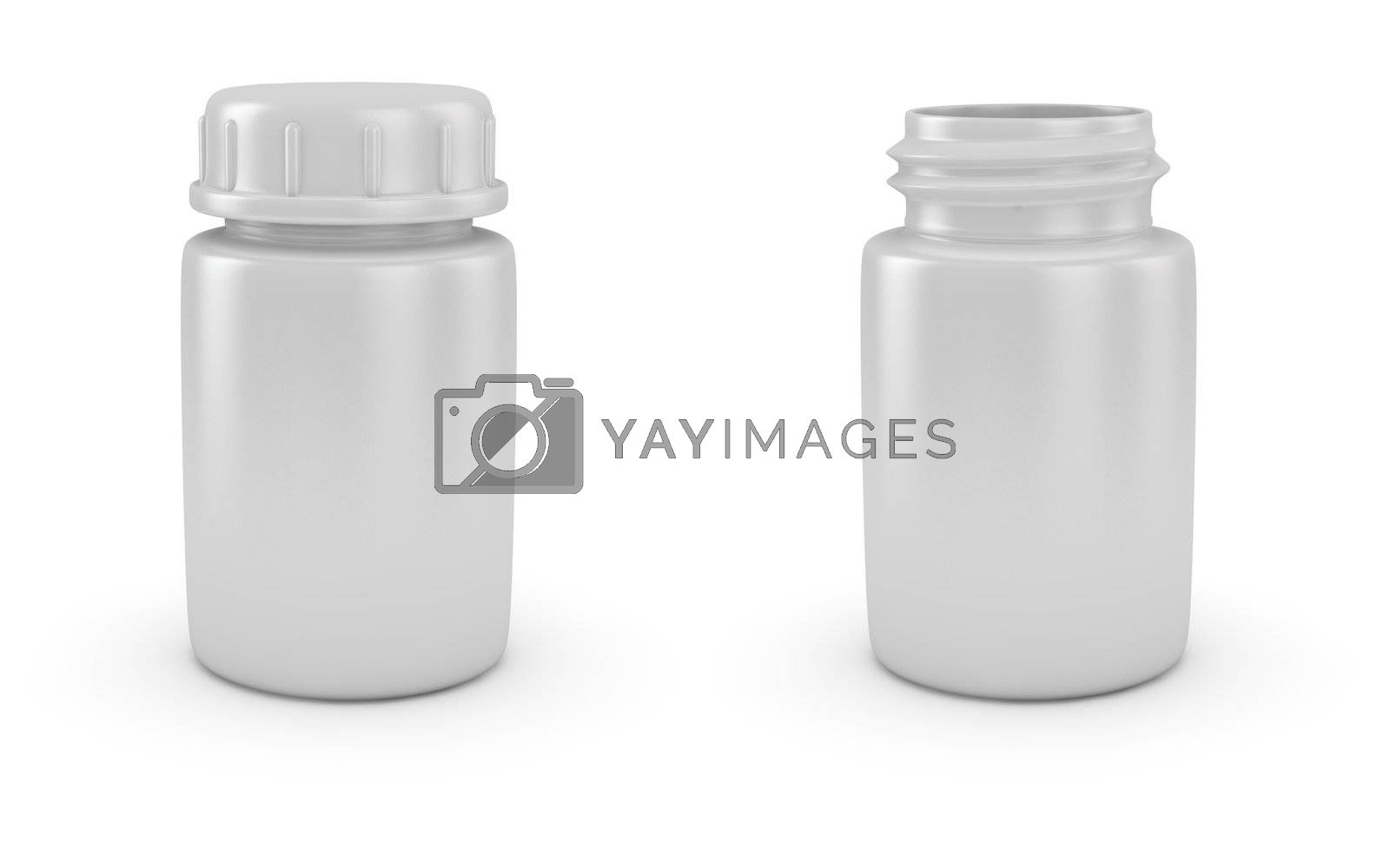 Two blank medical bottles with and without cap