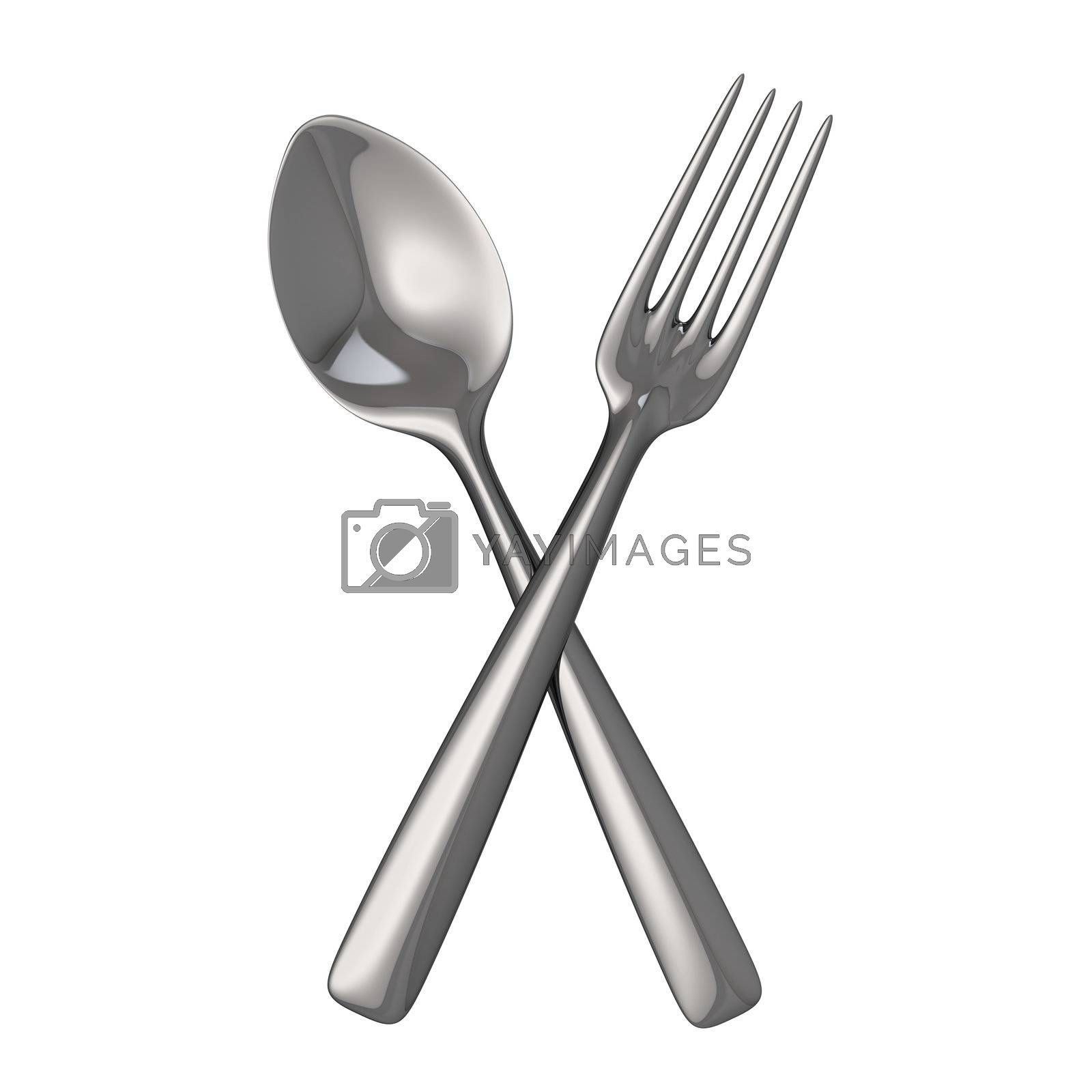 Crossed metal spoon and fork isolated on the white background