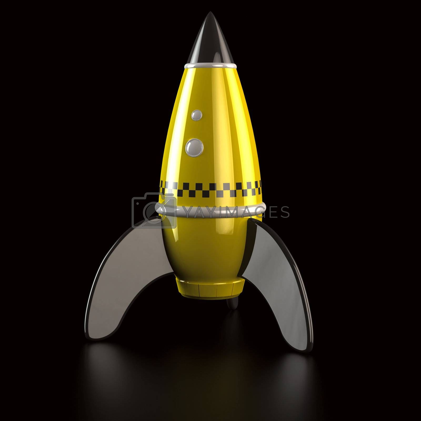 Yellow rocket taxi on the black background, 3d computer graphic