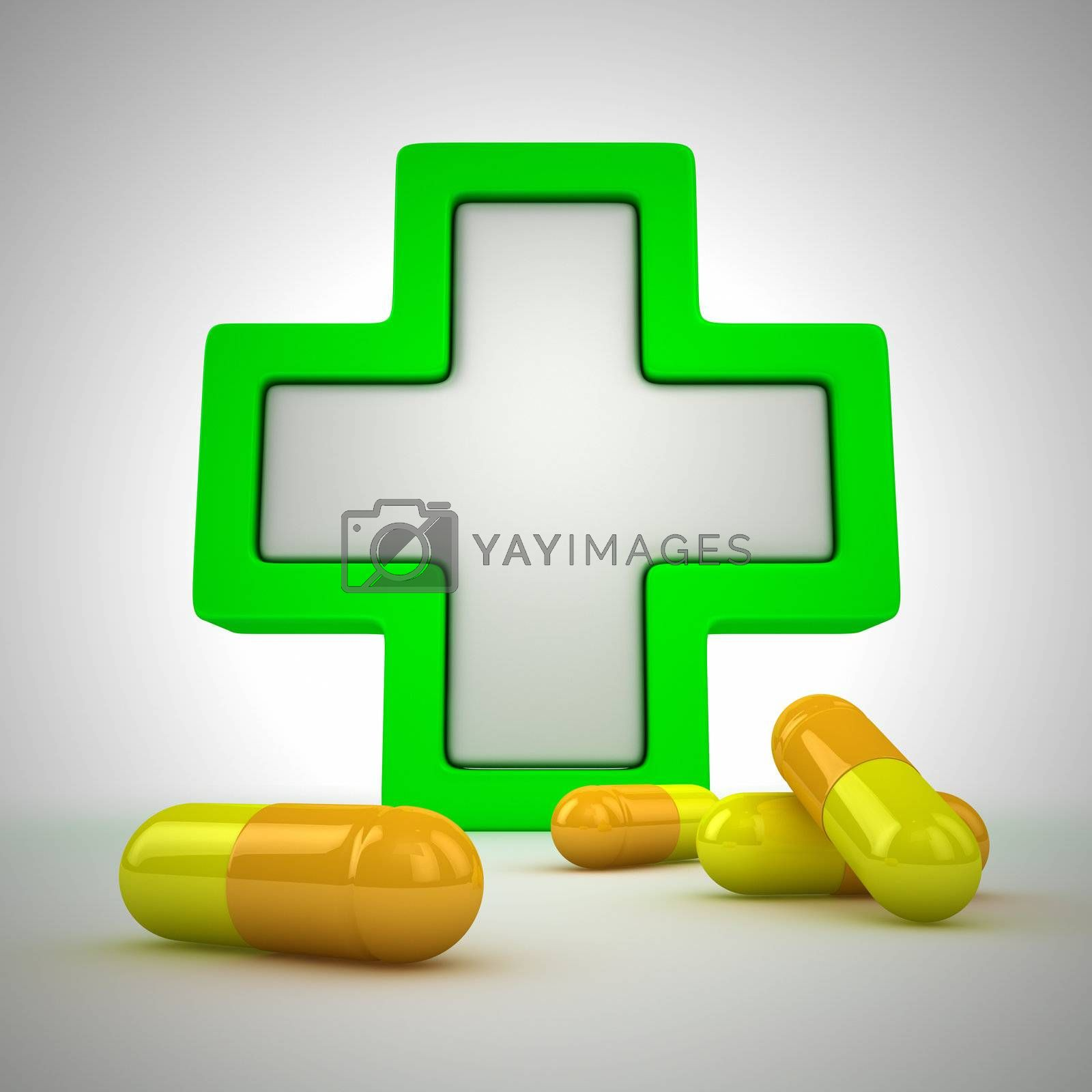 Medical cross and pills - first aid concept