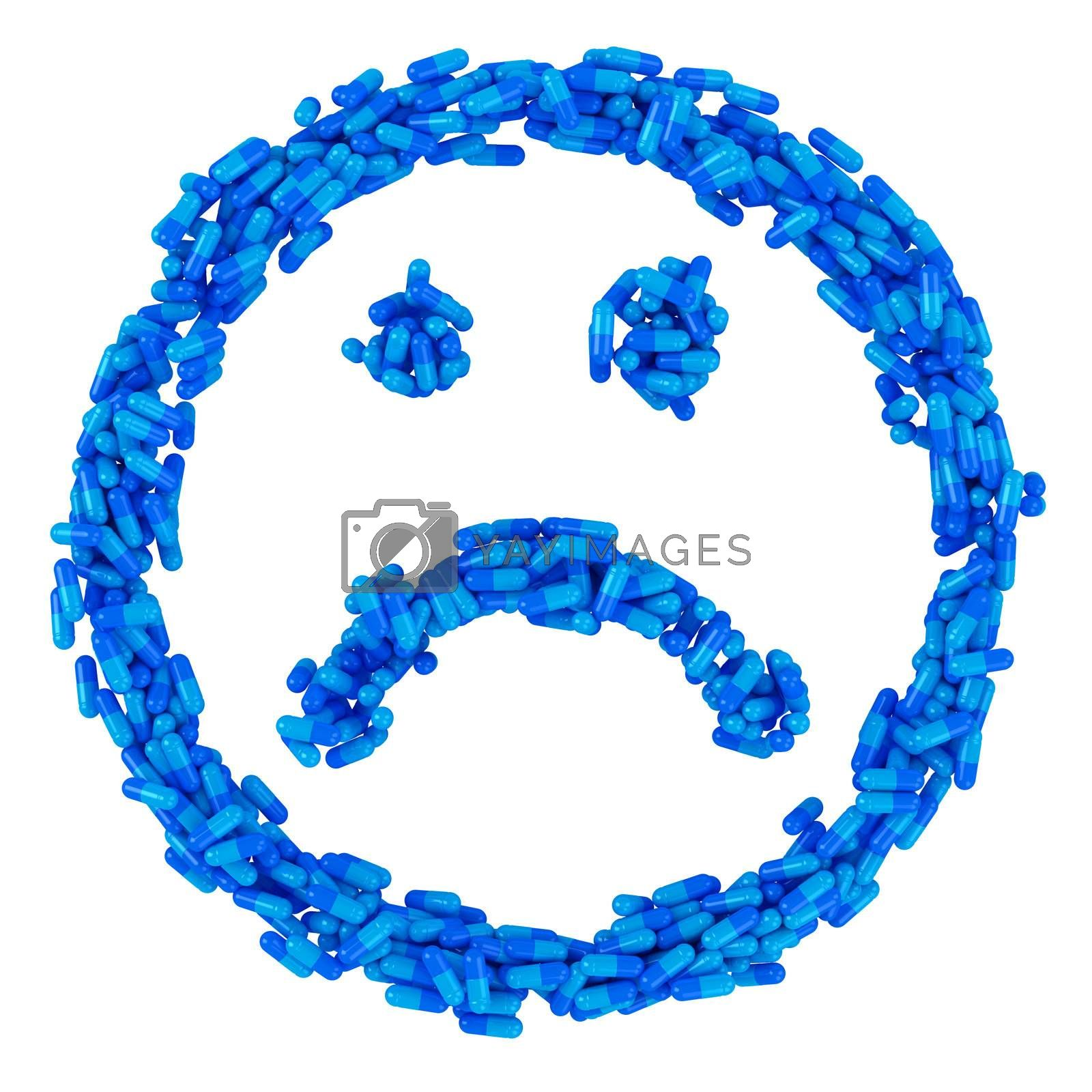 Sad smile made from many blue pills, sickness concept