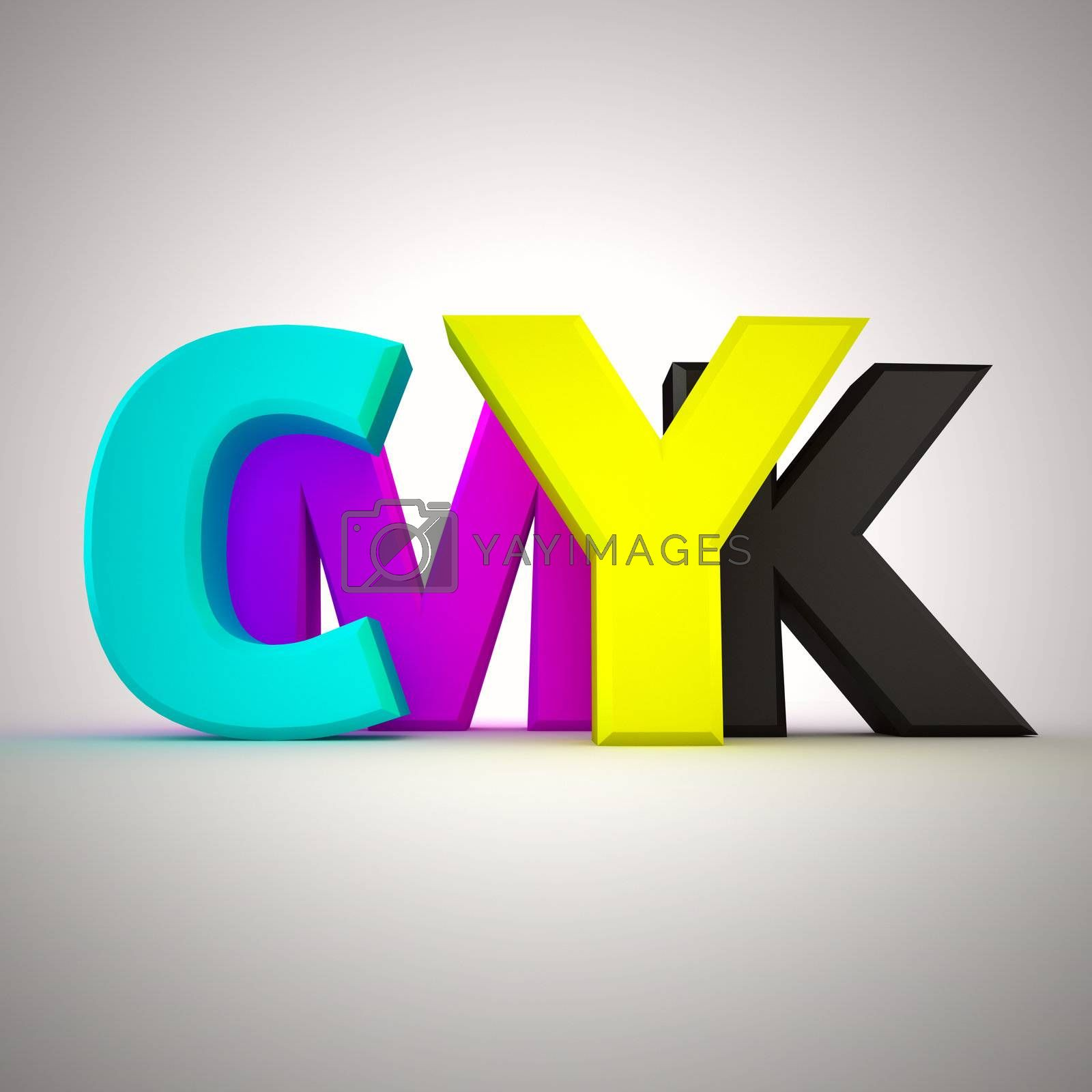 Capital letters CMYK on the white background