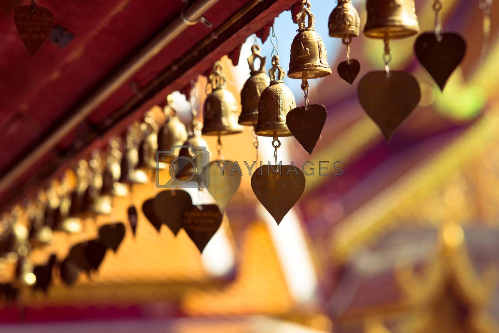 Golden bells in buddhist temple Wat Doi Suthep, Chiang Mai, Thailand