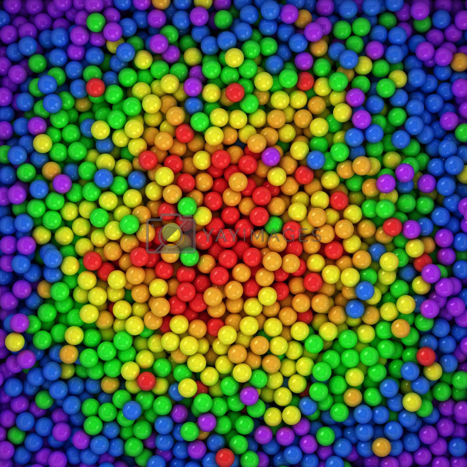 Spectrum balls background, three-dimensional computer graphic