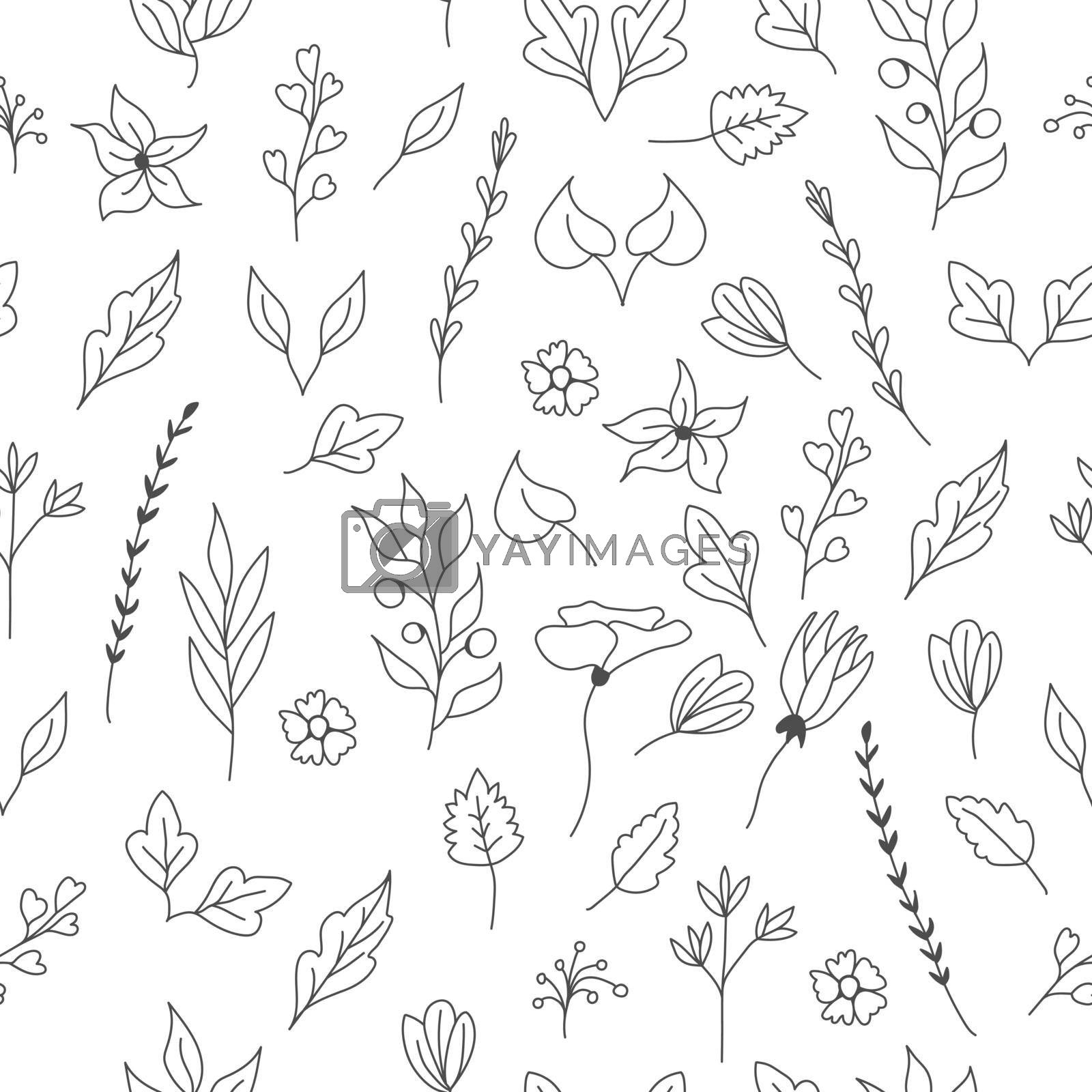 Seamless floral pattern for texture, textiles and simple backgrounds. Vector illustration