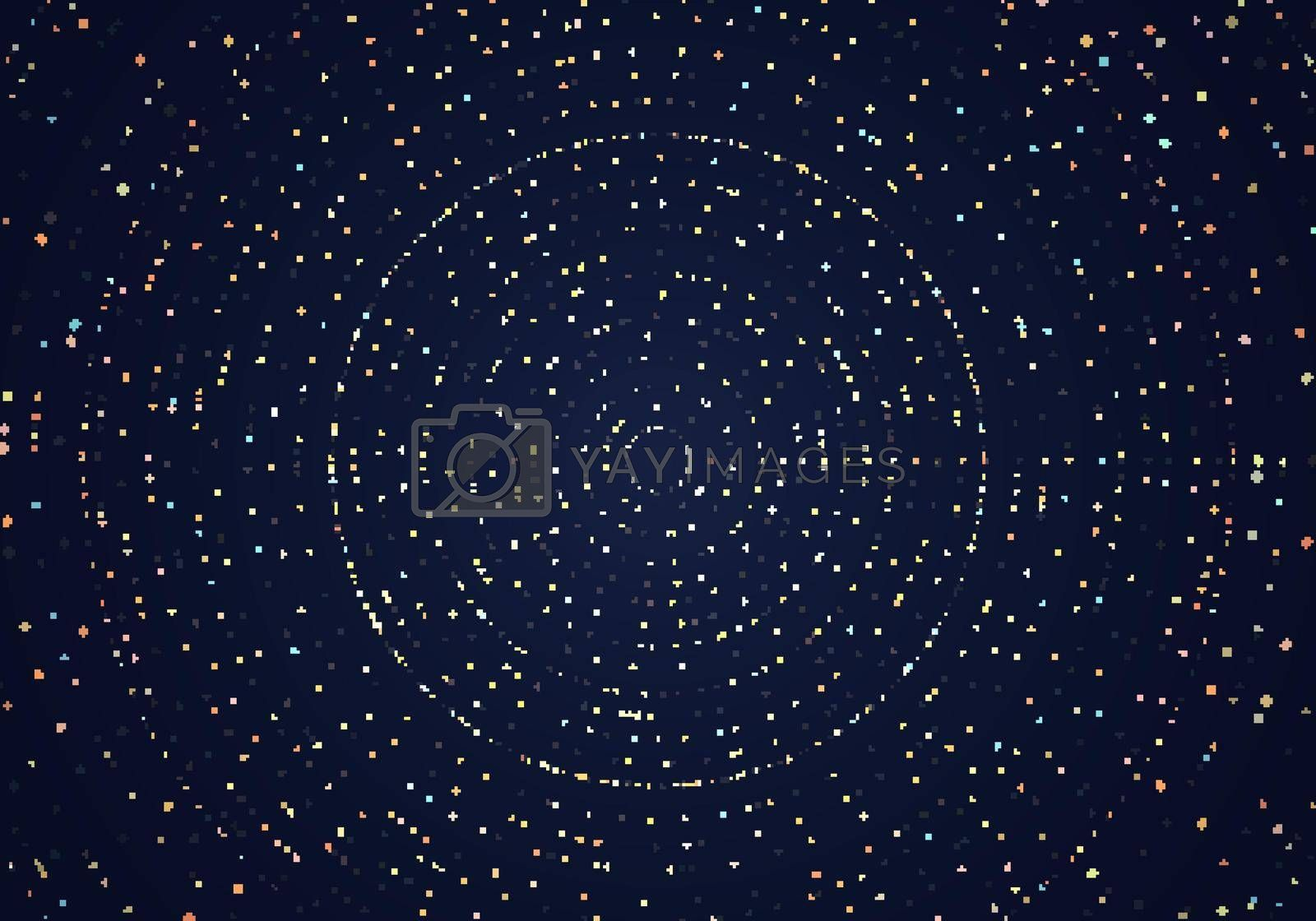 Royalty free image of Abstract many golden dots glitter particles on dark blue background and texture by phochi