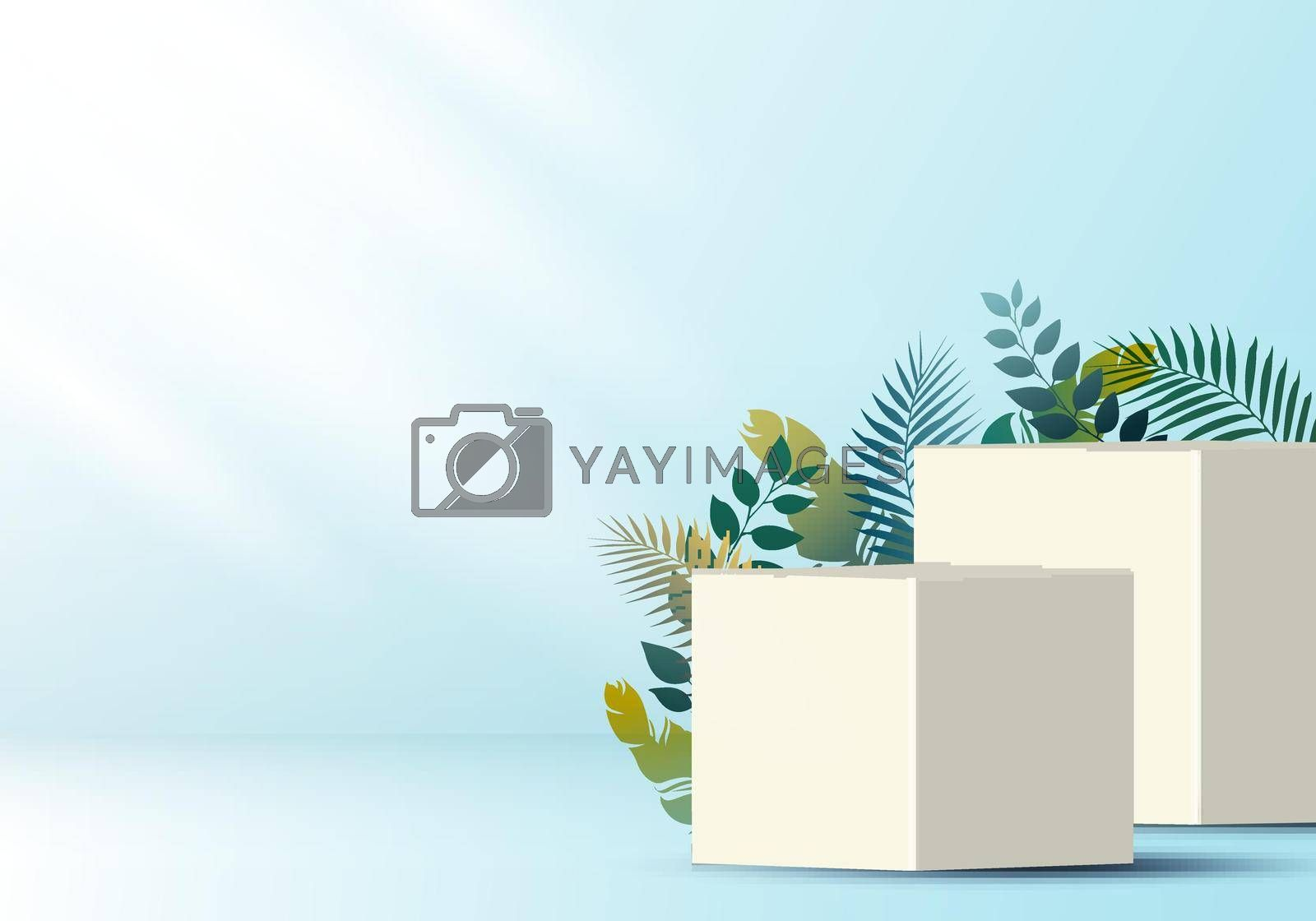 Royalty free image of 3D realistic white cube on soft blue backdrop for product display with tropical leaves decoration by phochi