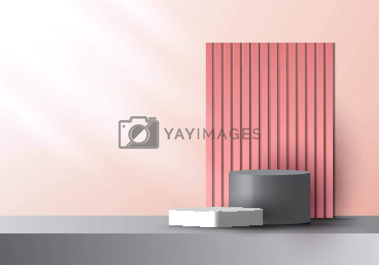 Royalty free image of 3D realistic pink and gray color geometric platform and battens backdrop with side lighting mockup minimal scene background by phochi